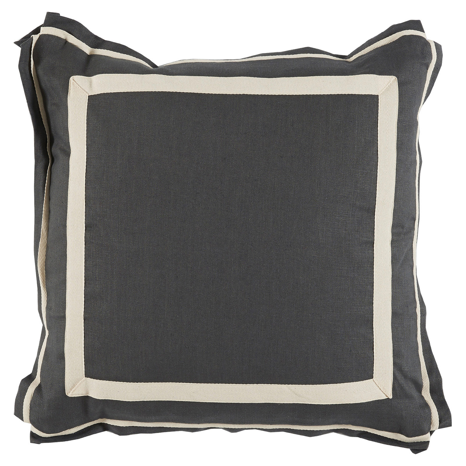 Donnie Coastal Modern Twill Charcoal Linen Pillow - 20x20