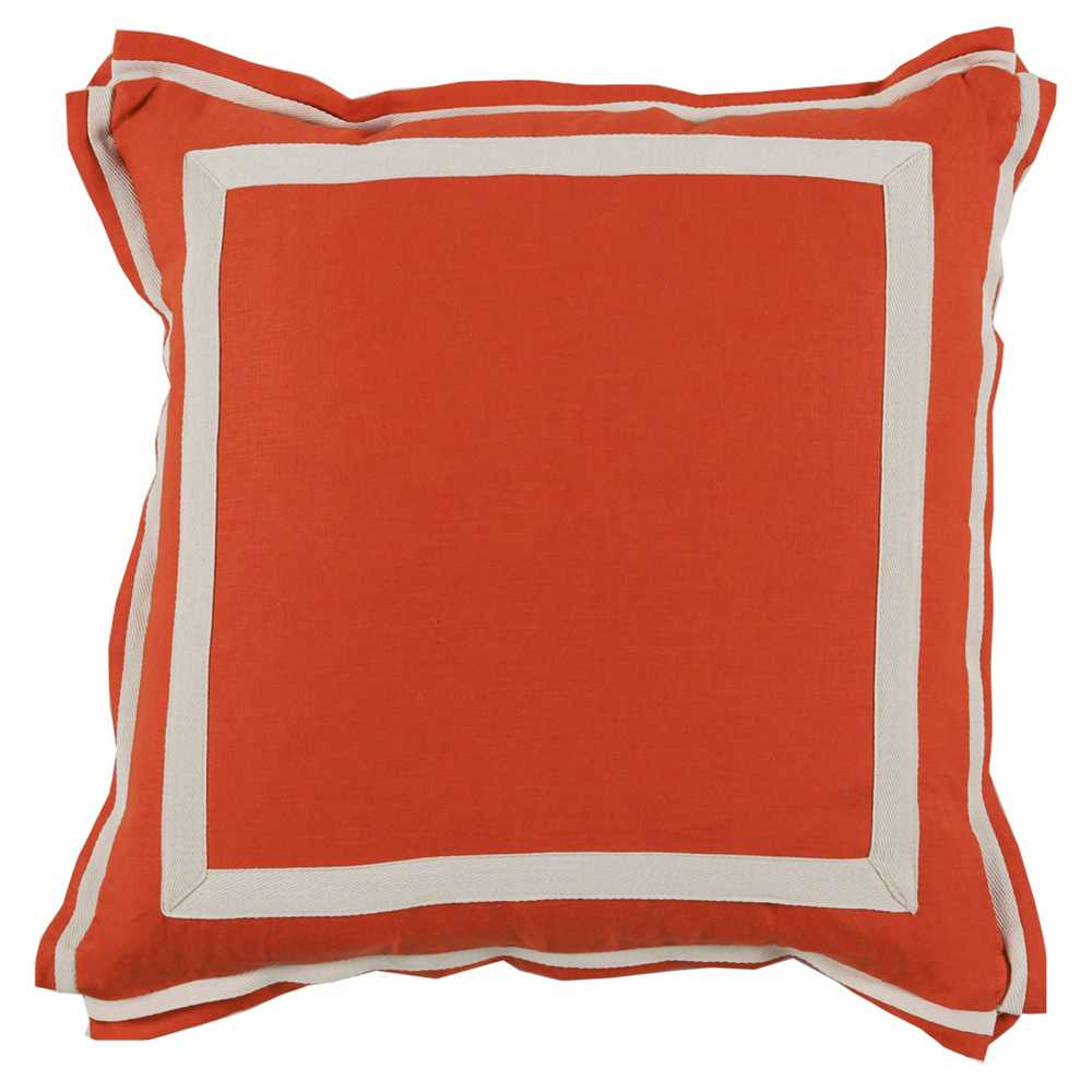 Donnie Coastal Modern Twill Bright Orange Linen Pillow - 20x20