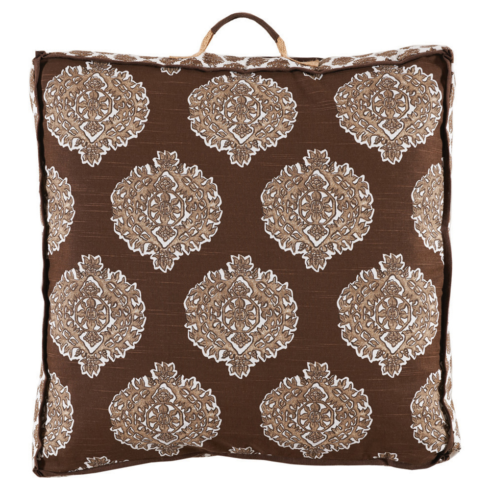 Bali Global Bazaar Medallion Brown Linen Floor Pillow - 26x26