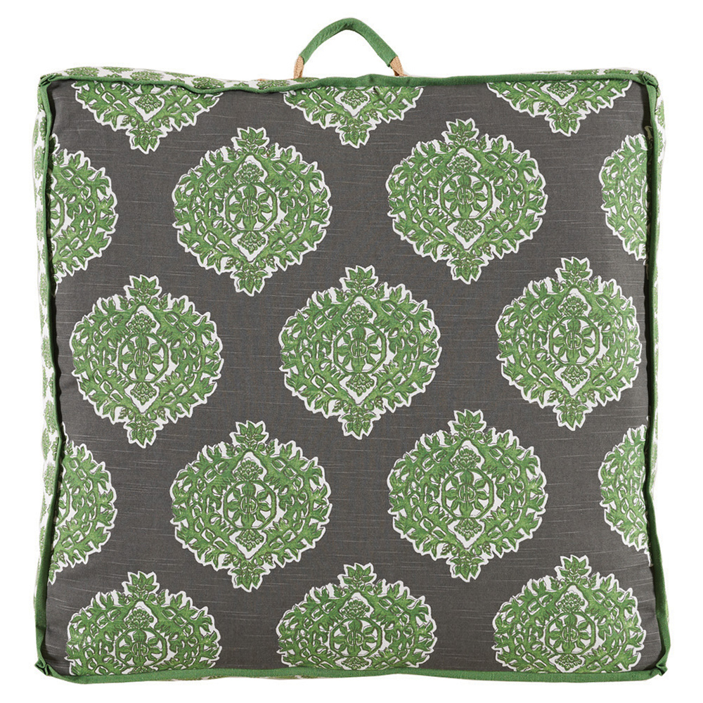 Bali Global Bazaar Medallion Green Linen Floor Pillow - 26x26