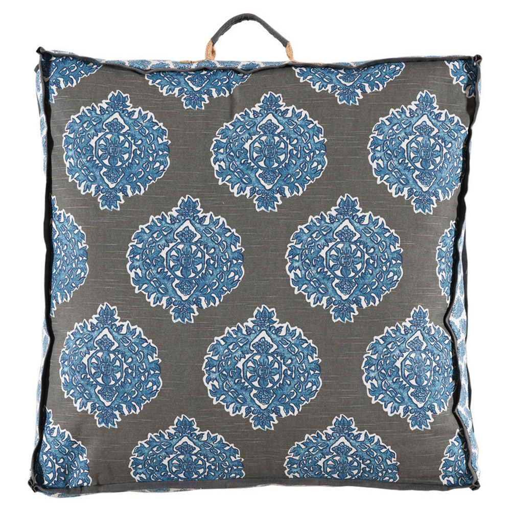 Bali Global Bazaar Medallion Blue Linen Floor Pillow - 26x26