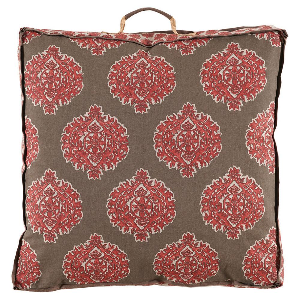 Bali Global Bazaar Medallion Beige Linen Floor Pillow - 26x26