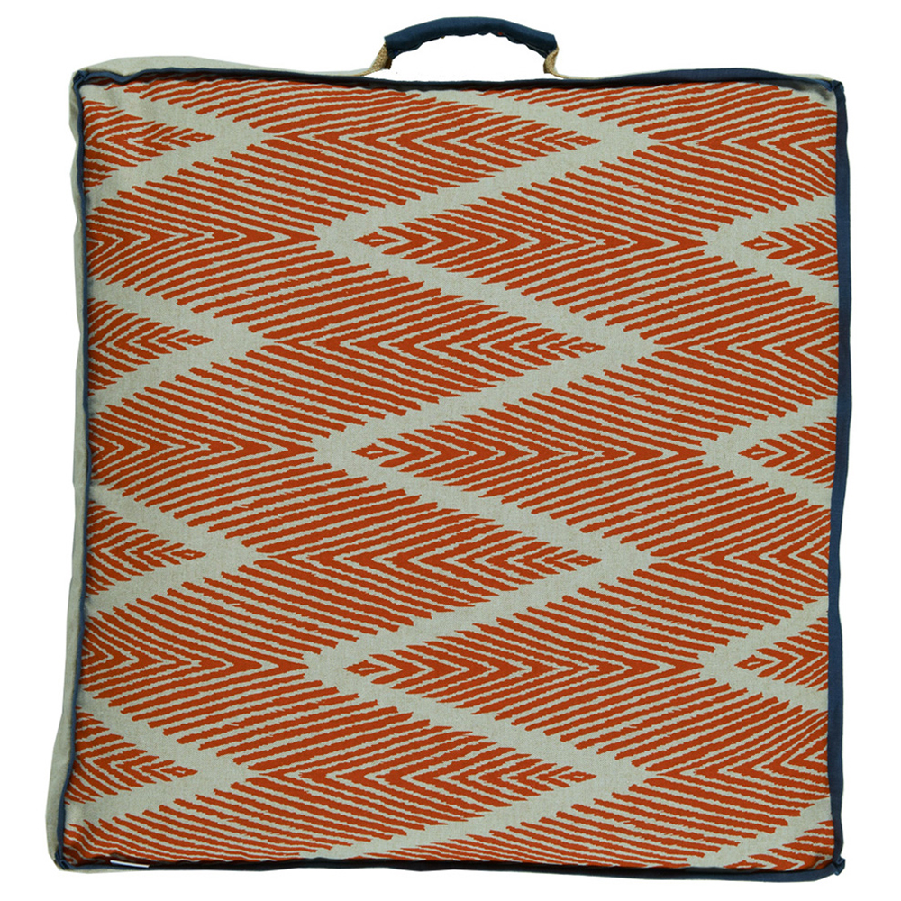 Calcutta Bazaar Zig Zag Orange Linen Floor Pillow - 26x26
