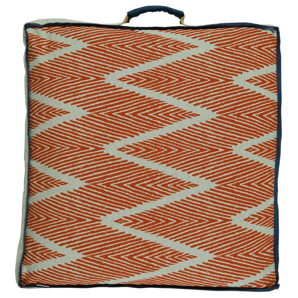 Calcutta Bazaar Zig Zag Orange Linen Floor Pillow - 26x26