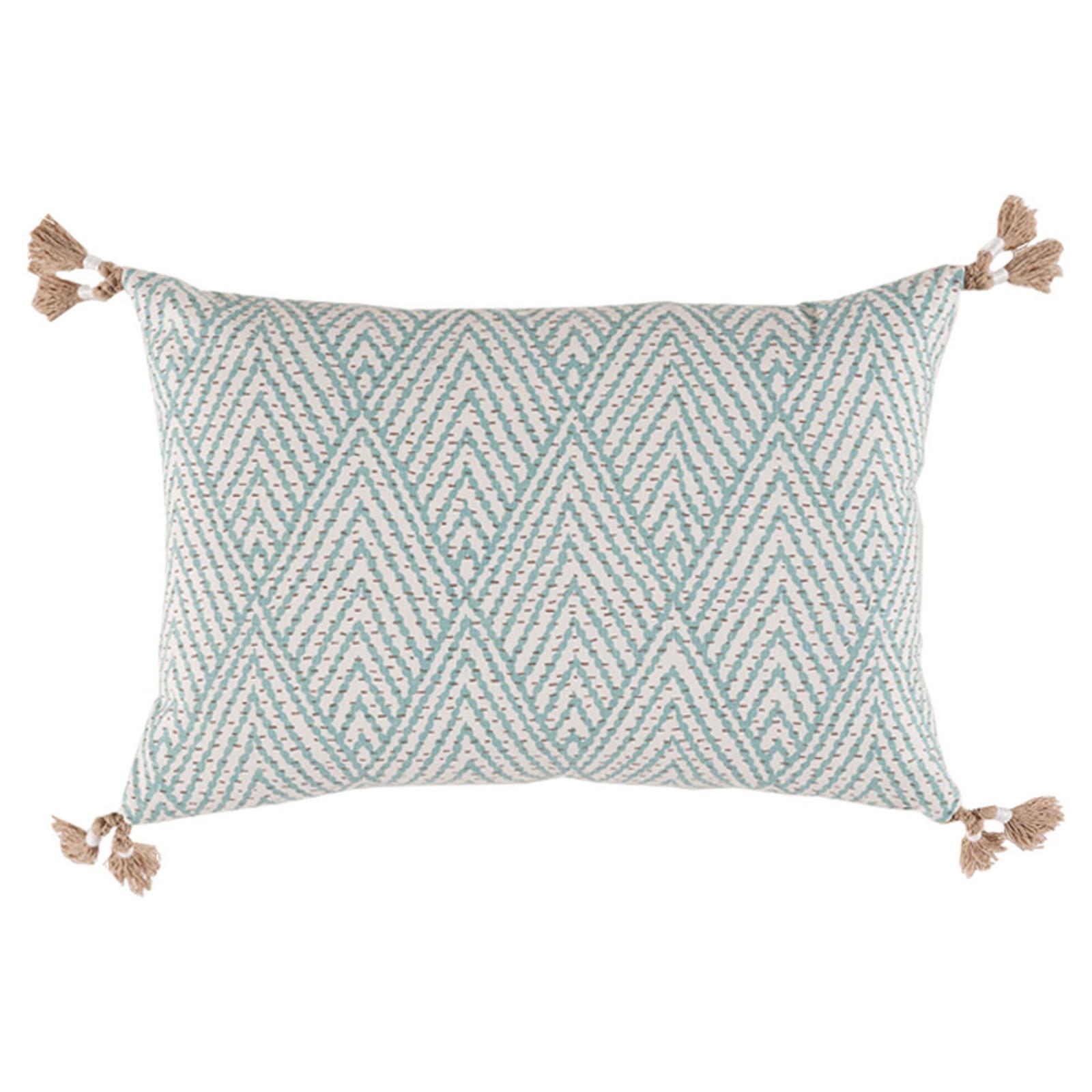 Reni Global Bazaar Sky Blue Stitch Linen Tassel Pillow - 13x19