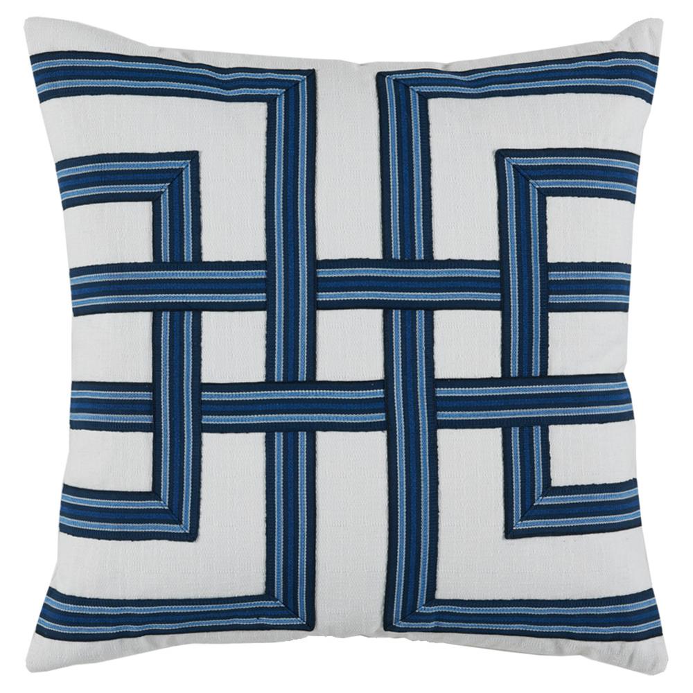 Kelso Modern Blue Weave White Linen Pillow - 22x22