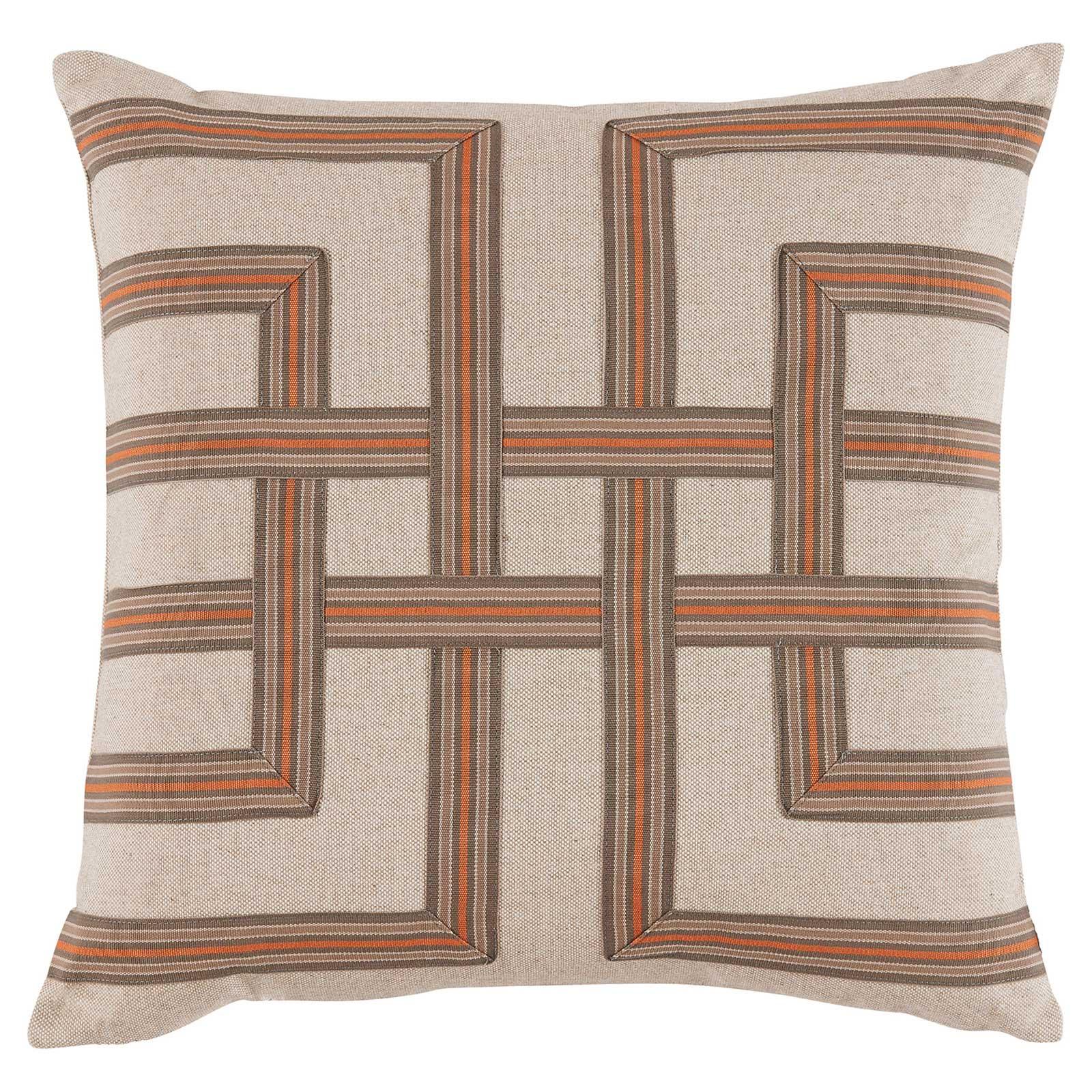 Kelso Modern Orange Weave White Linen Pillow - 22x22