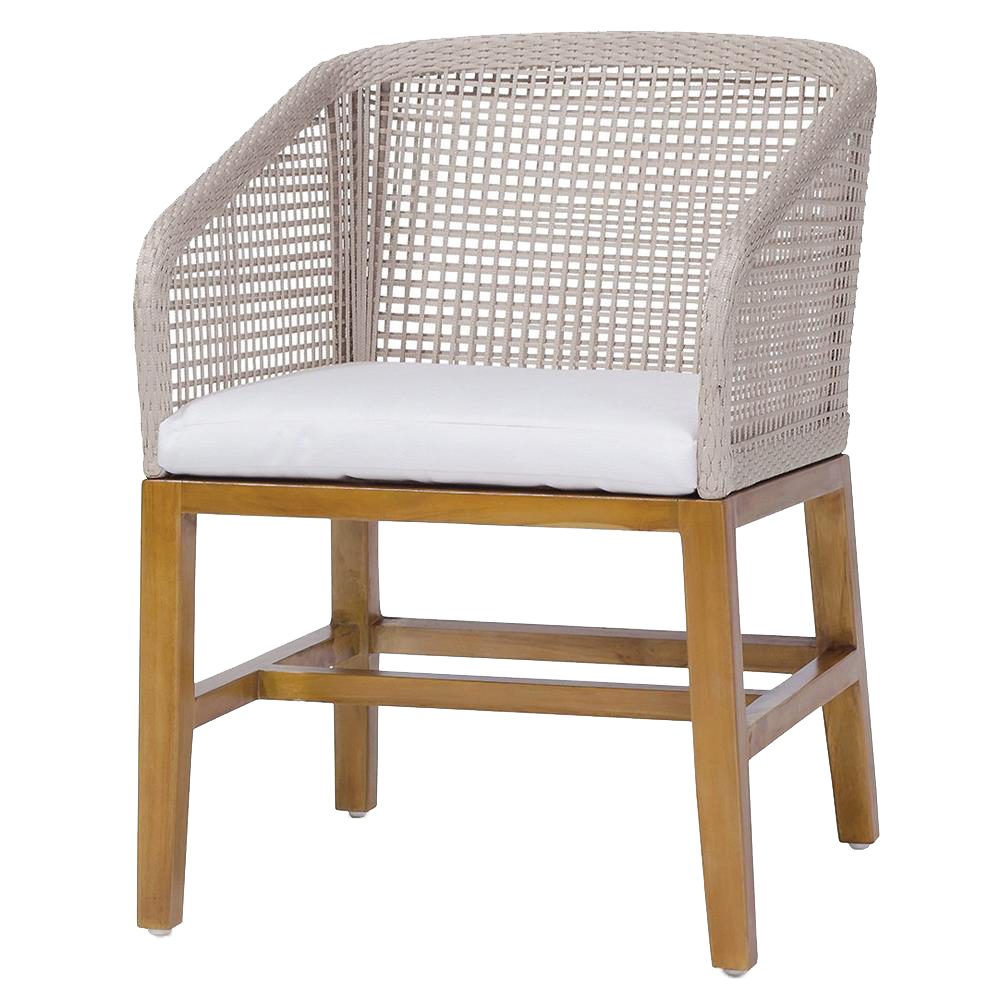 Sol Modern Classic Woven Rope Teak Outdoor Arm Chair
