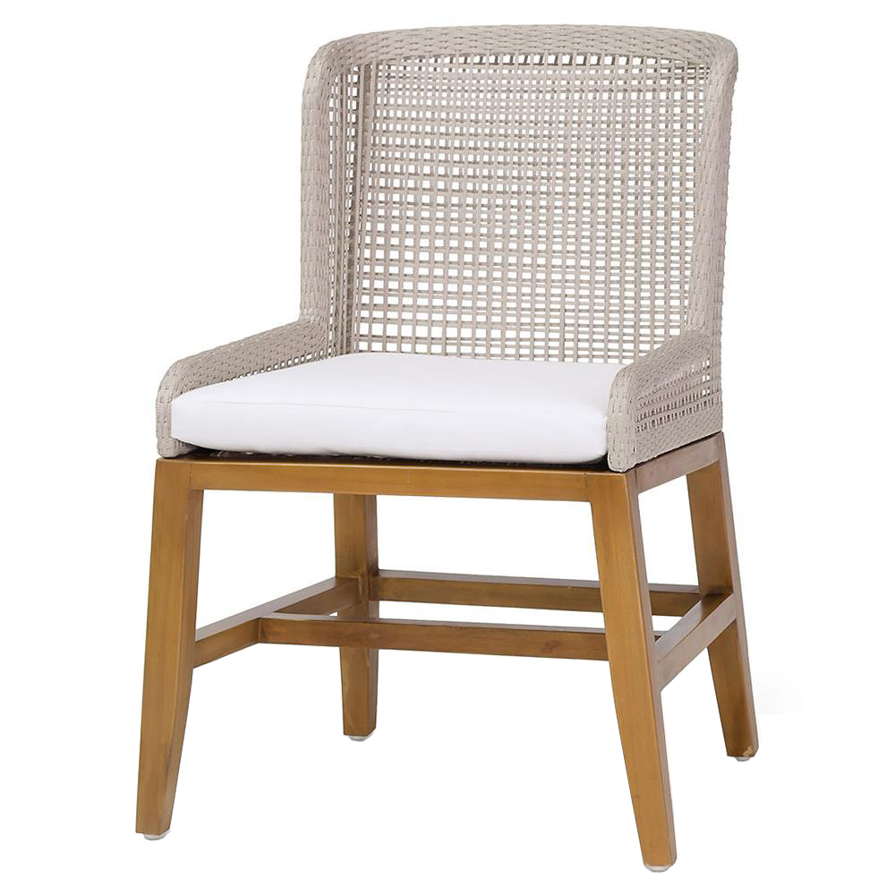 Sol Modern Classic Woven Rope Teak Outdoor Side Chair