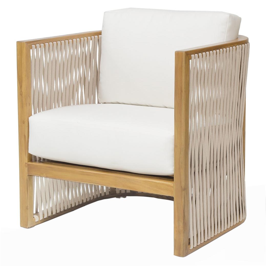 Jibe Modern Coastal Beige Rope Teak Outdoor Lounge Chair