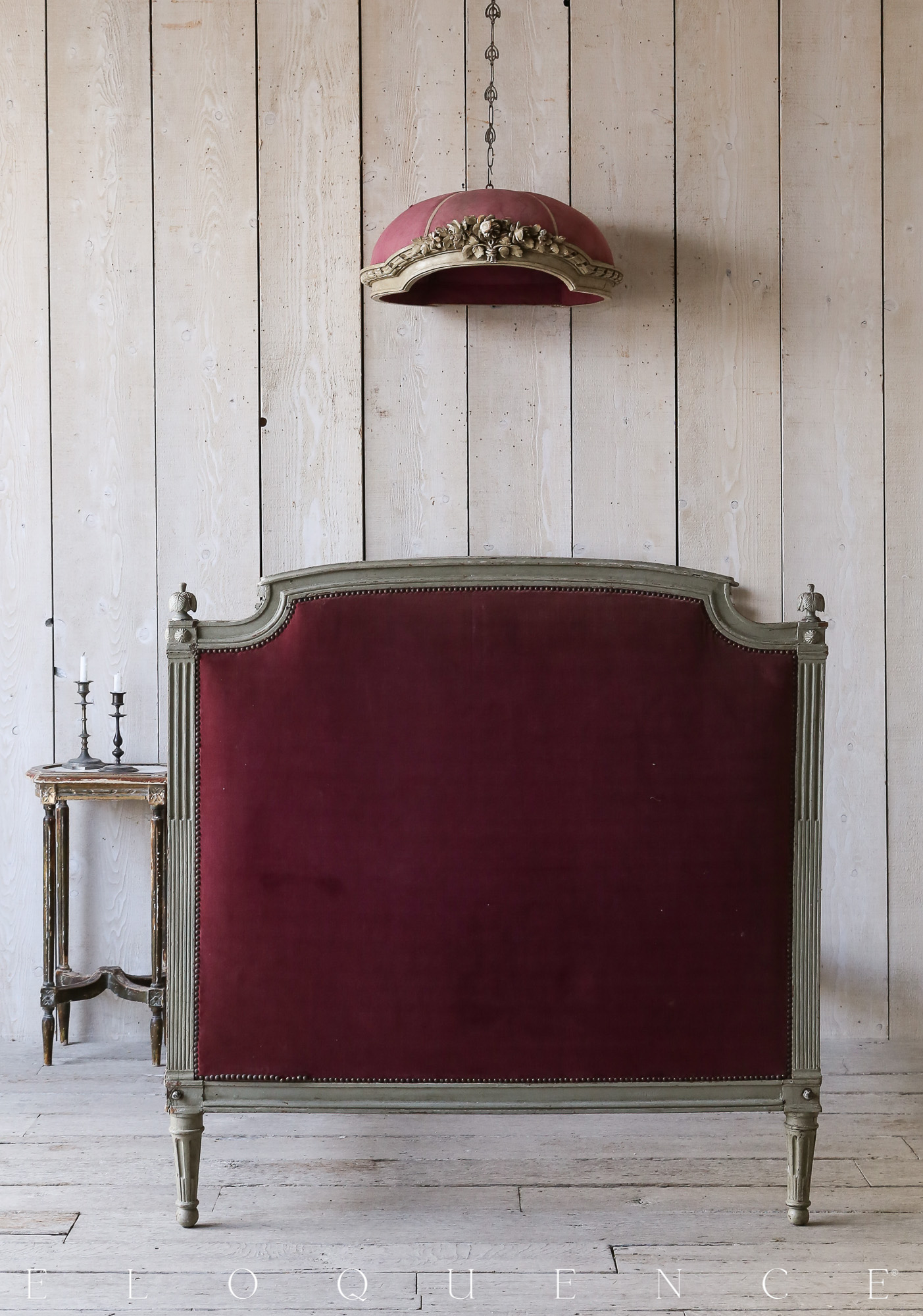 Eloquence® Antique Olive French Louis XVI Maroon Velvet Bed 1850
