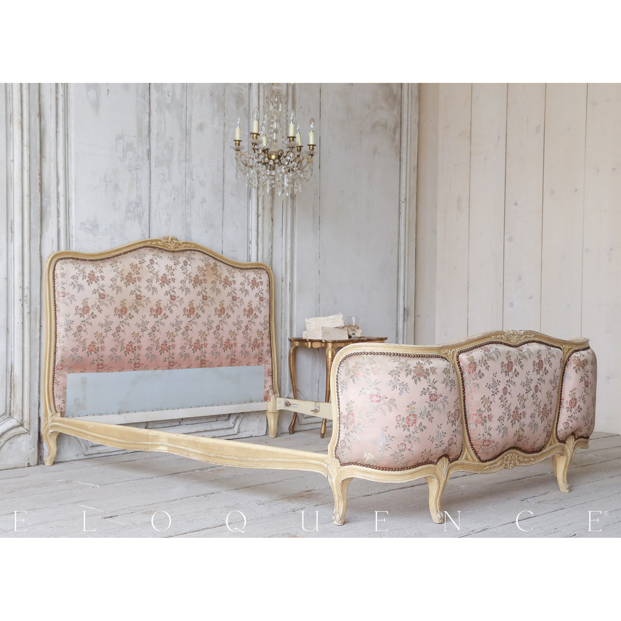 Eloquence® Antique French Dusty Rose Satin Damask Bed 1910