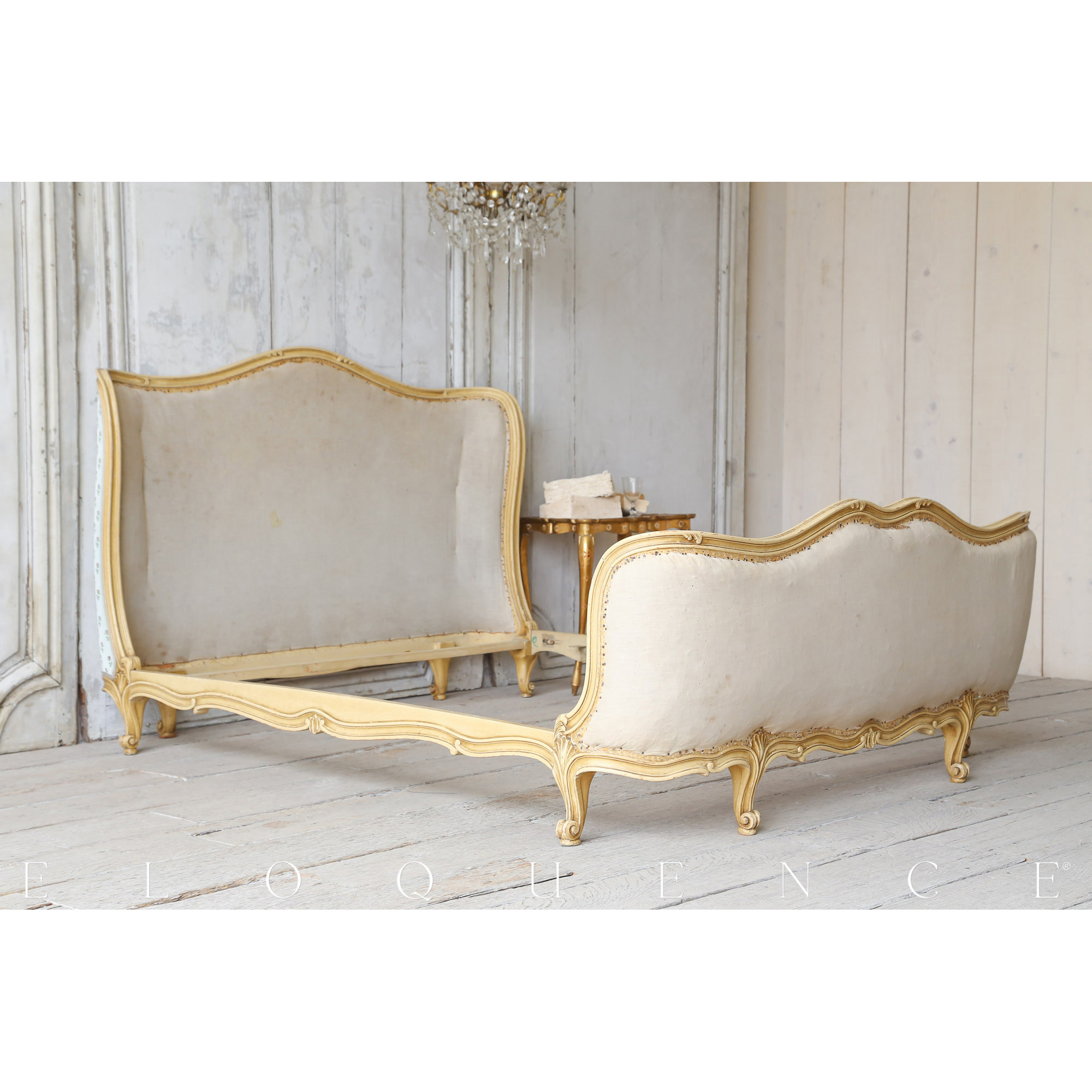 Eloquence® Antique French Cream Enamel Finish Wood Bed 1910