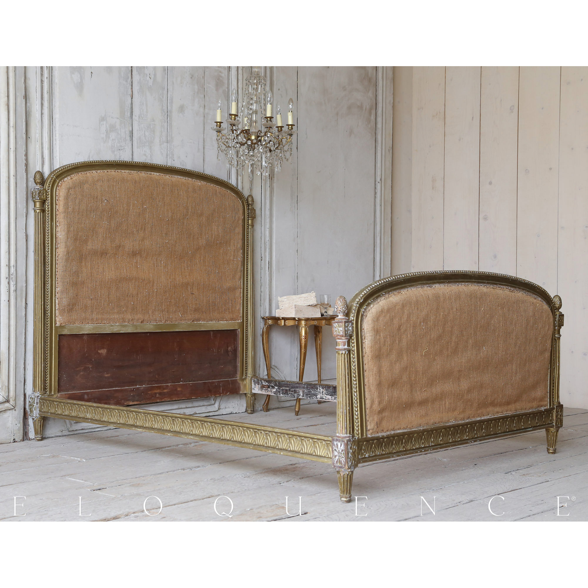 Eloquence® Antique French Louis XVI Dark Olive Gold Bed 1910