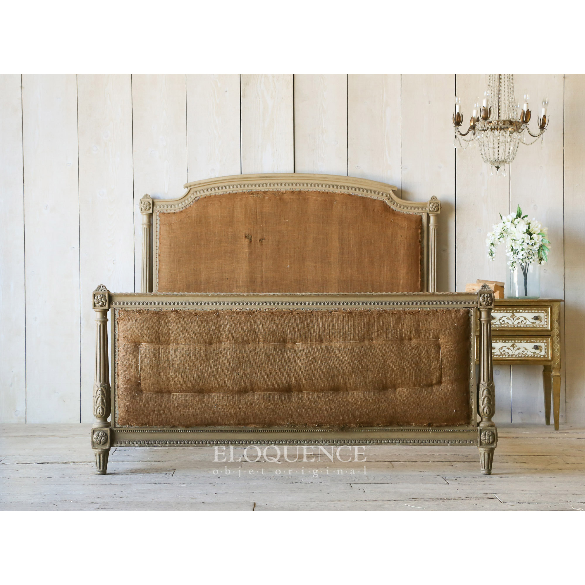 Eloquence® Antique French Olive Green Wood Full Size Bed 1870