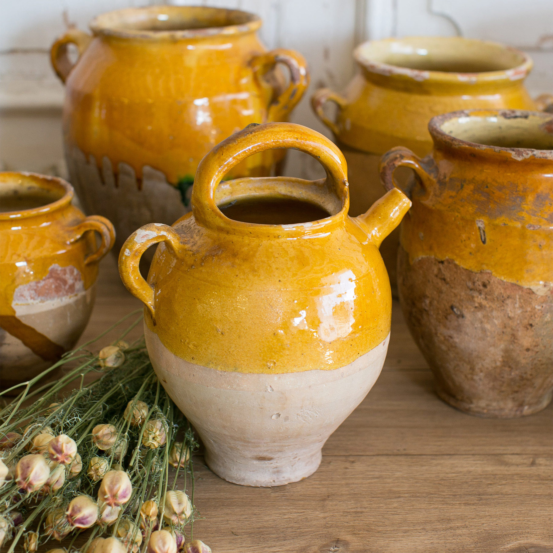 Eloquence® Antique French Yellow Terracotta Confit Pots 1890