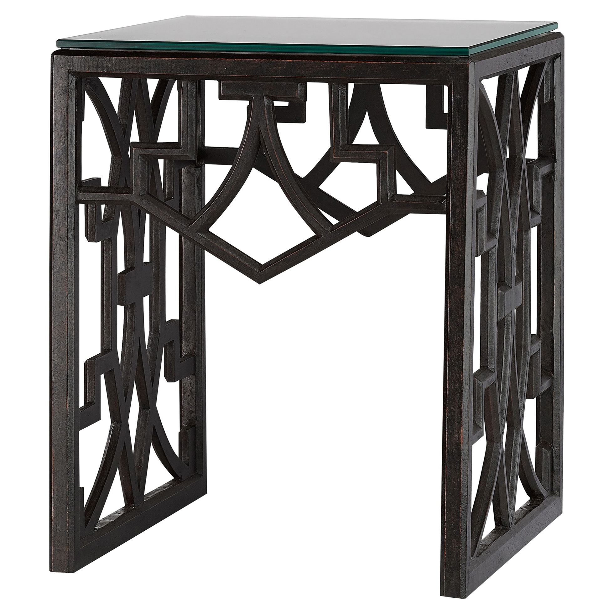 Liadan Global Bazaar Black Wood Trellis Side Table