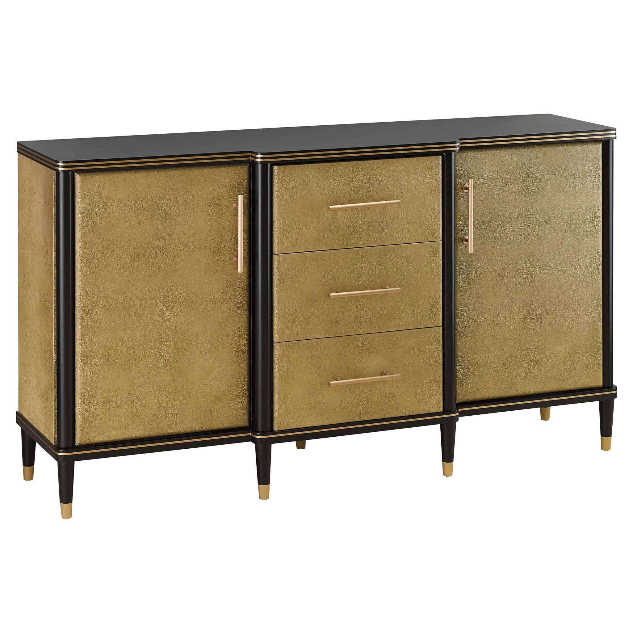 Svetlana Hollywood Regency Gold Faux Shagreen Black Credenza