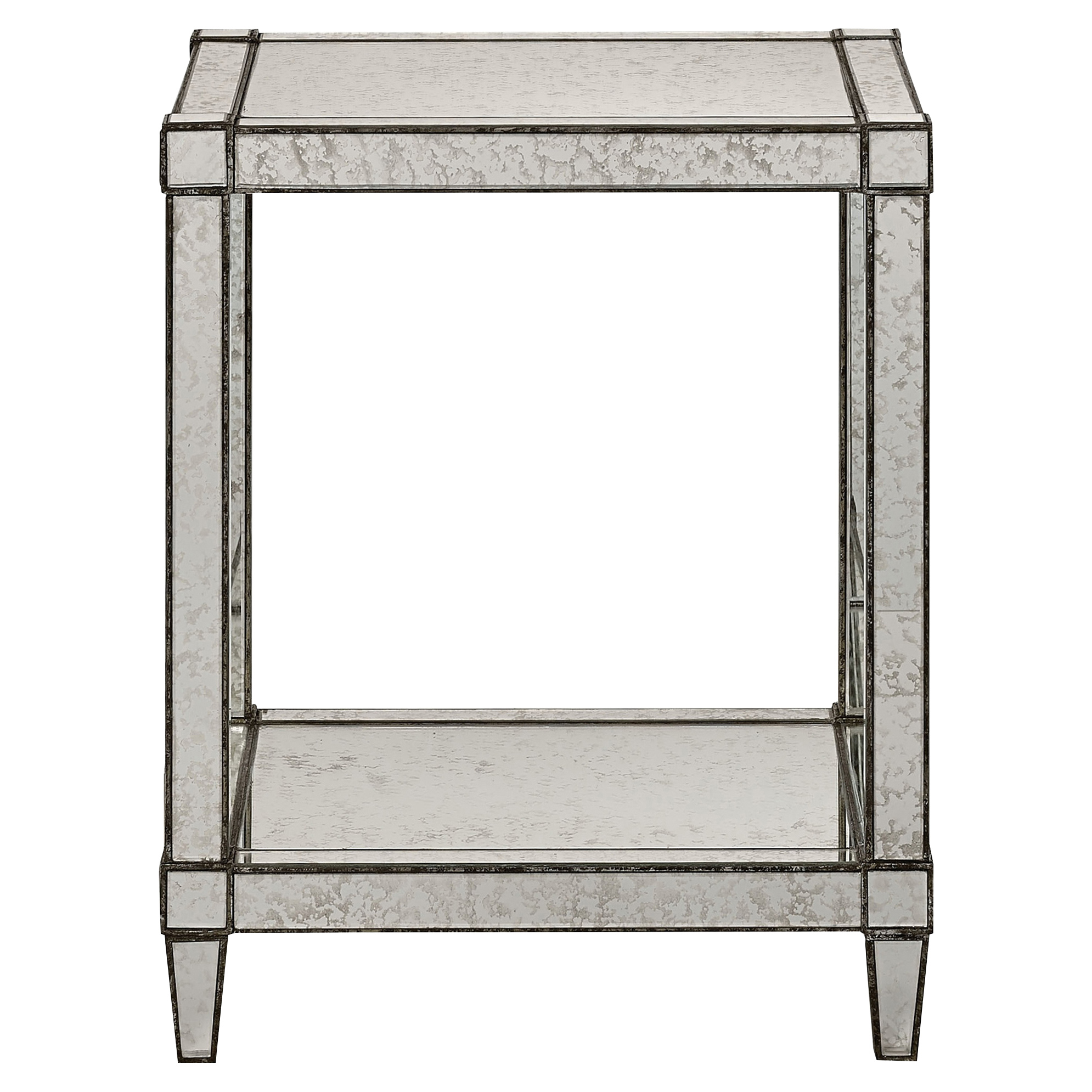 Thalia Regency Silver Art Deco Antique Mirror End Table
