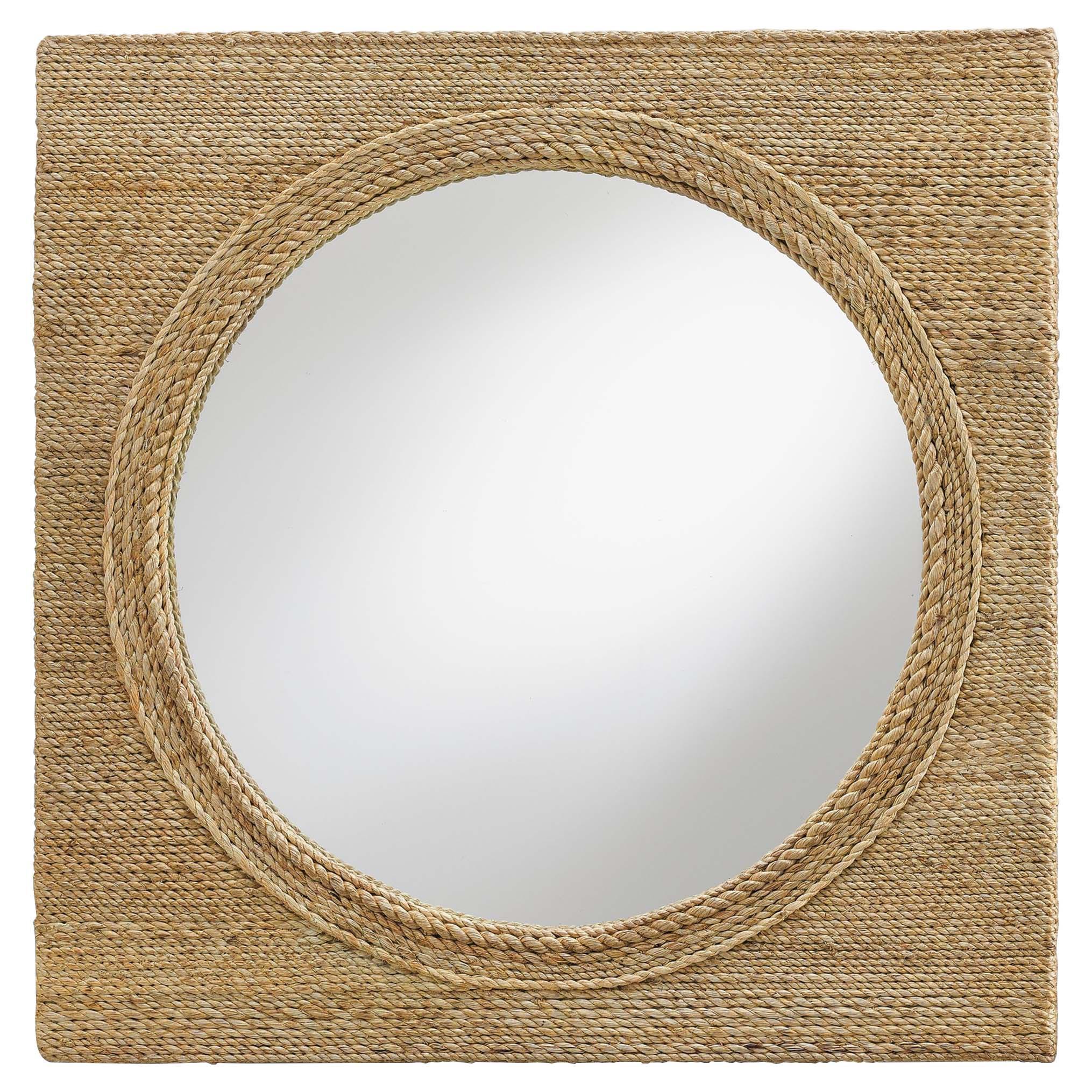 Sidra Coastal Beach Square Rope Wrapped Porthole Mirror