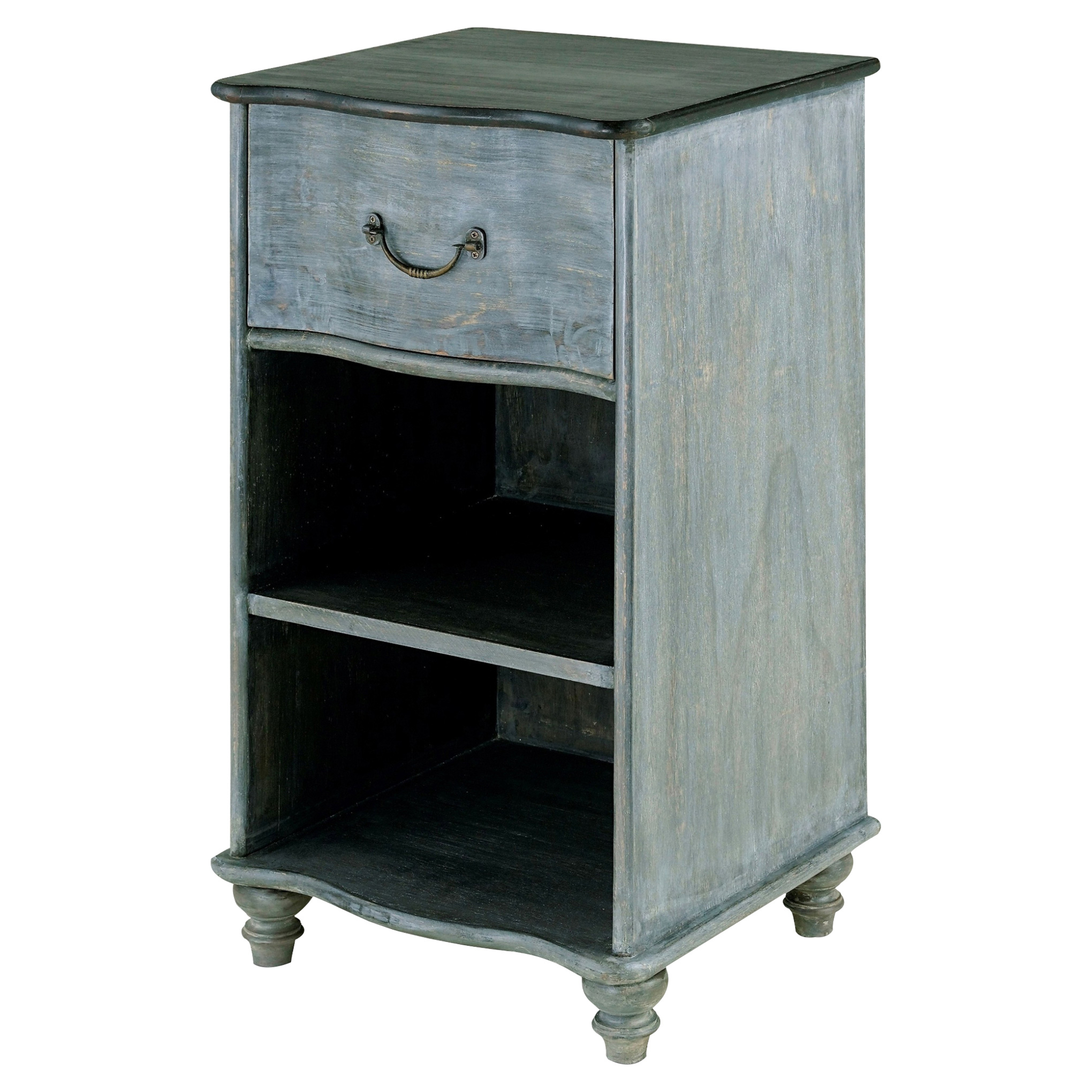 Cocteau French Country Blue Grey Rustic Wood Nightstand