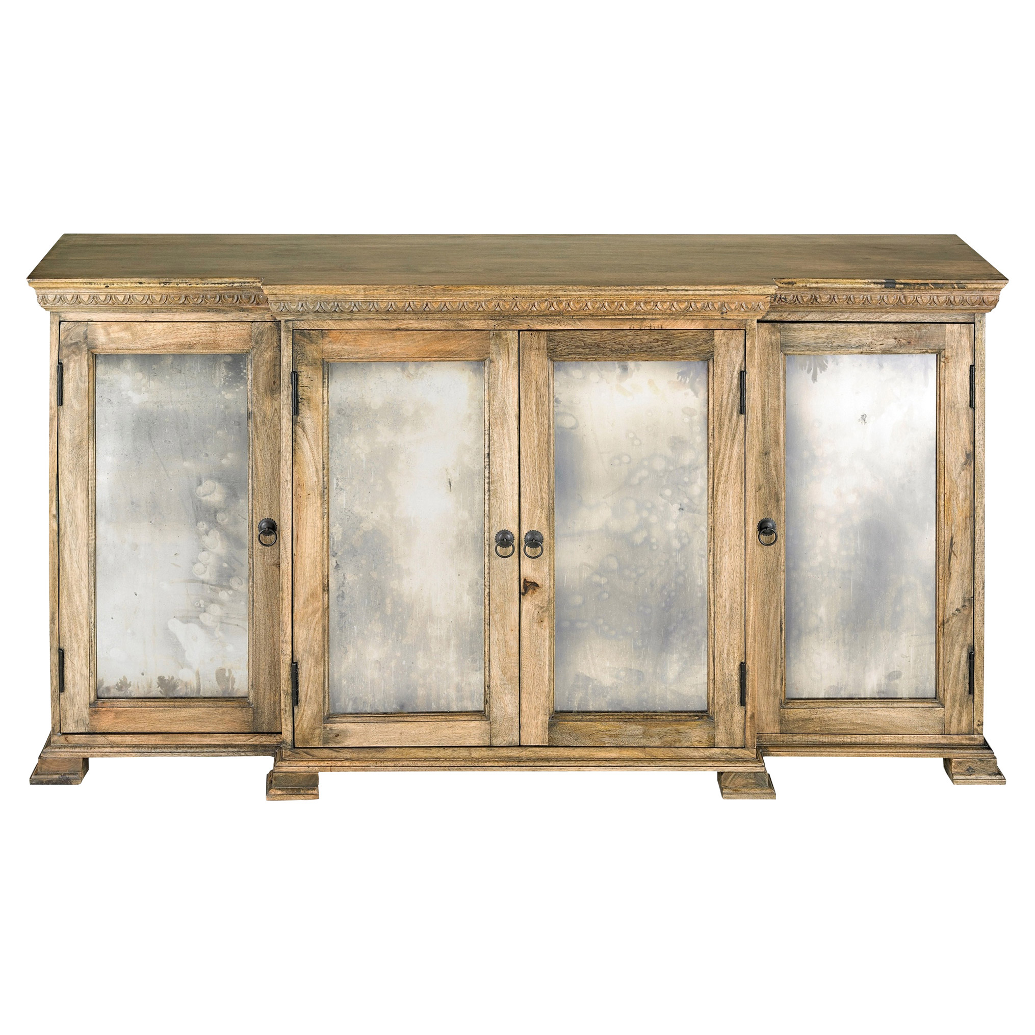 Verity French Country Rustic Wood Antique Mirror Large Buffet