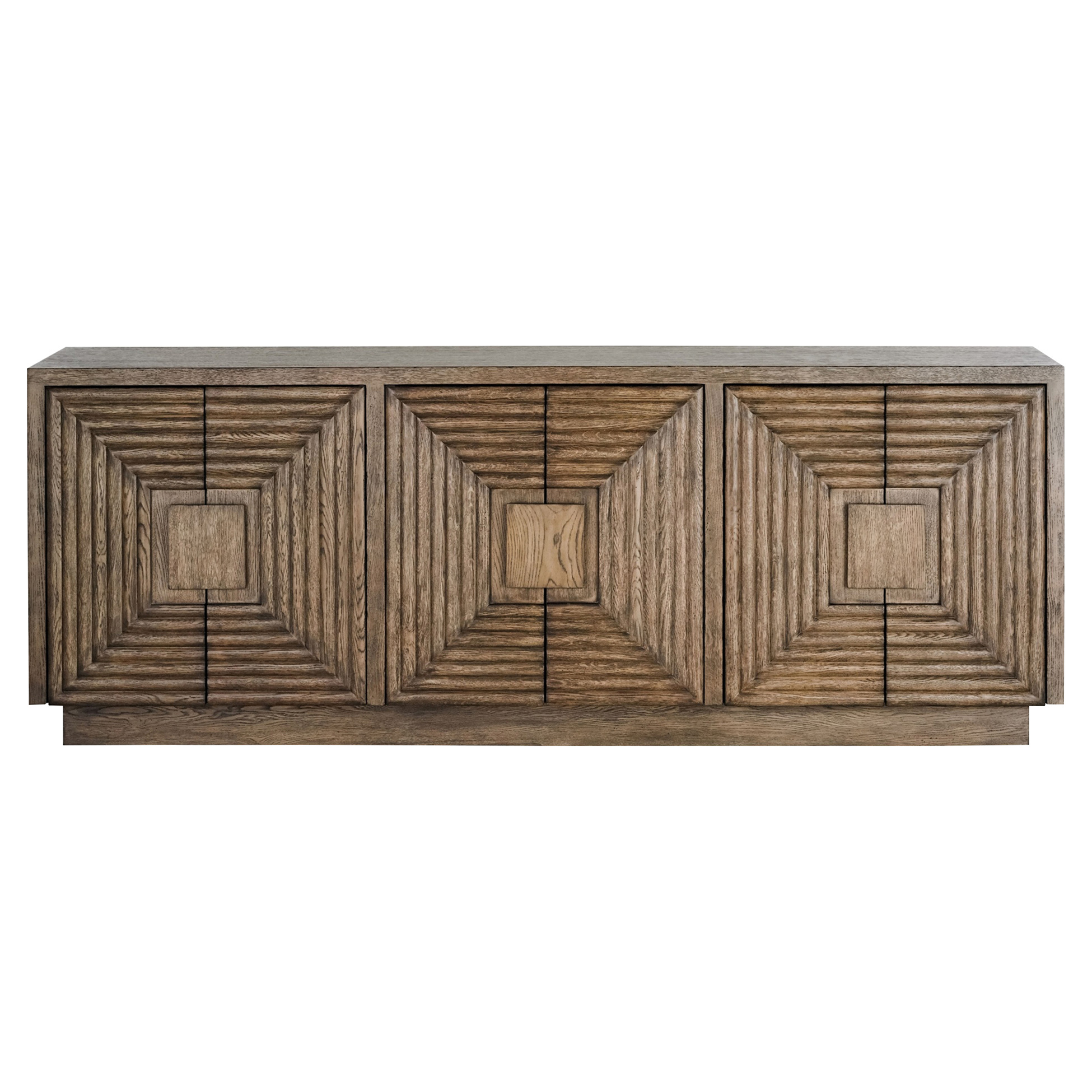 Bronwyn Rustic Lodge Square Pattern Natural Wood Credenza