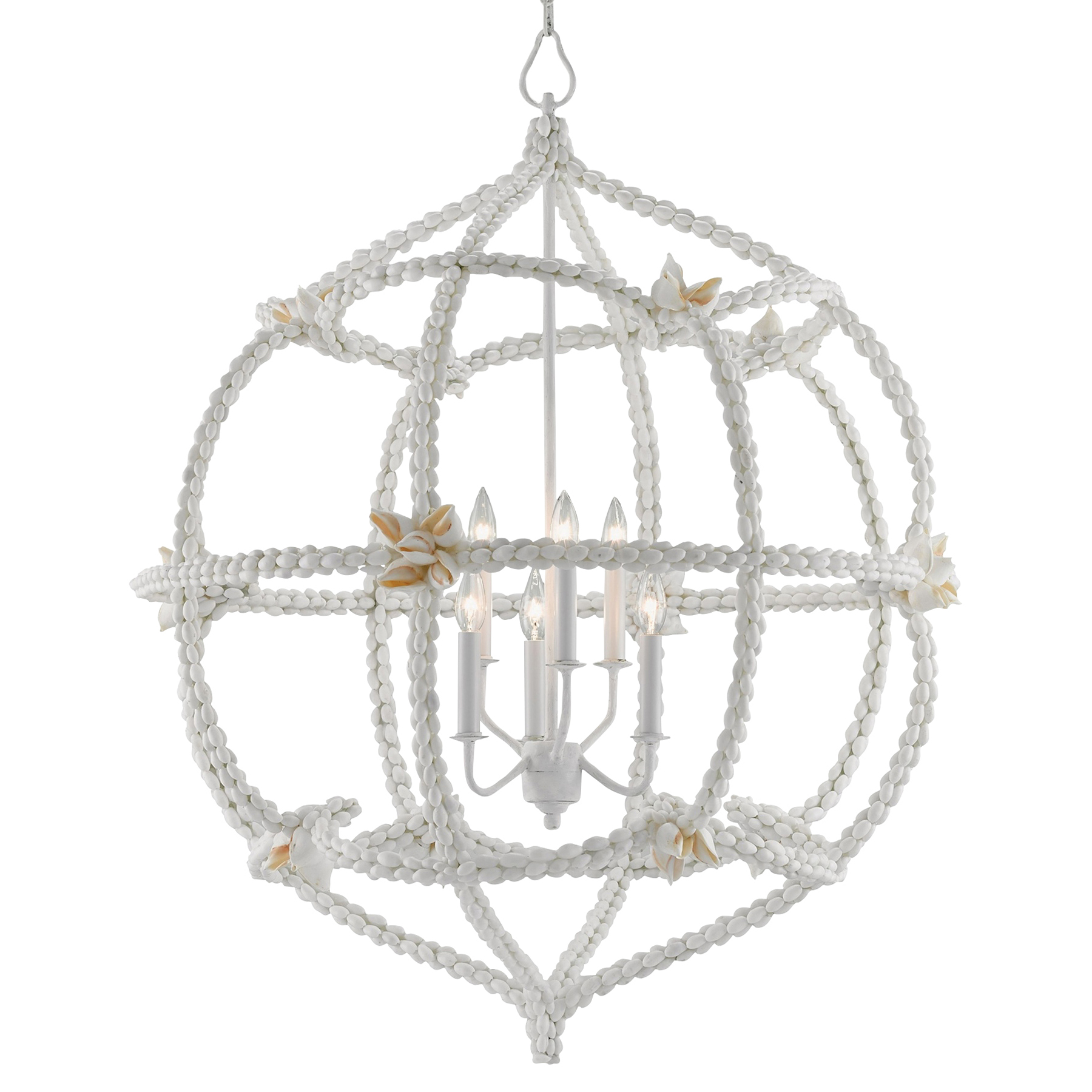 Serafina Coastal Beach White Shell Globe Chandelier