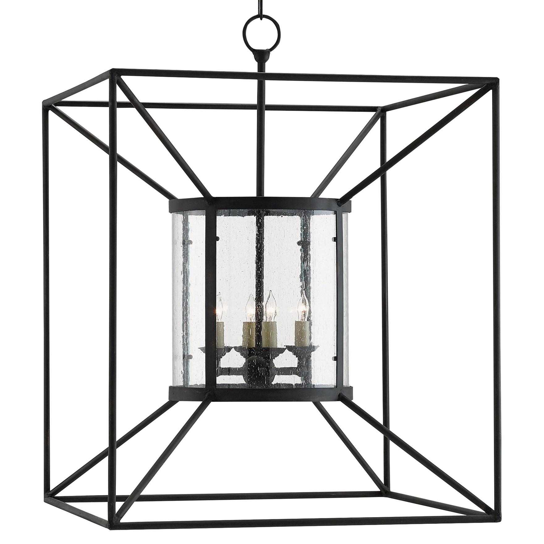 Shela Industrial Loft Black Iron Minimal Cube Lantern