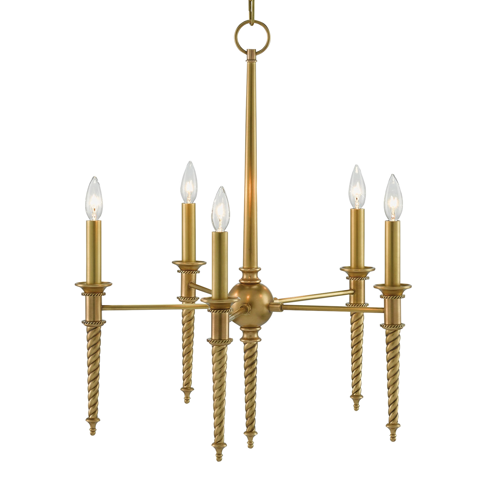 Quella French Country Modern Gold Twisted Scroll Chandelier
