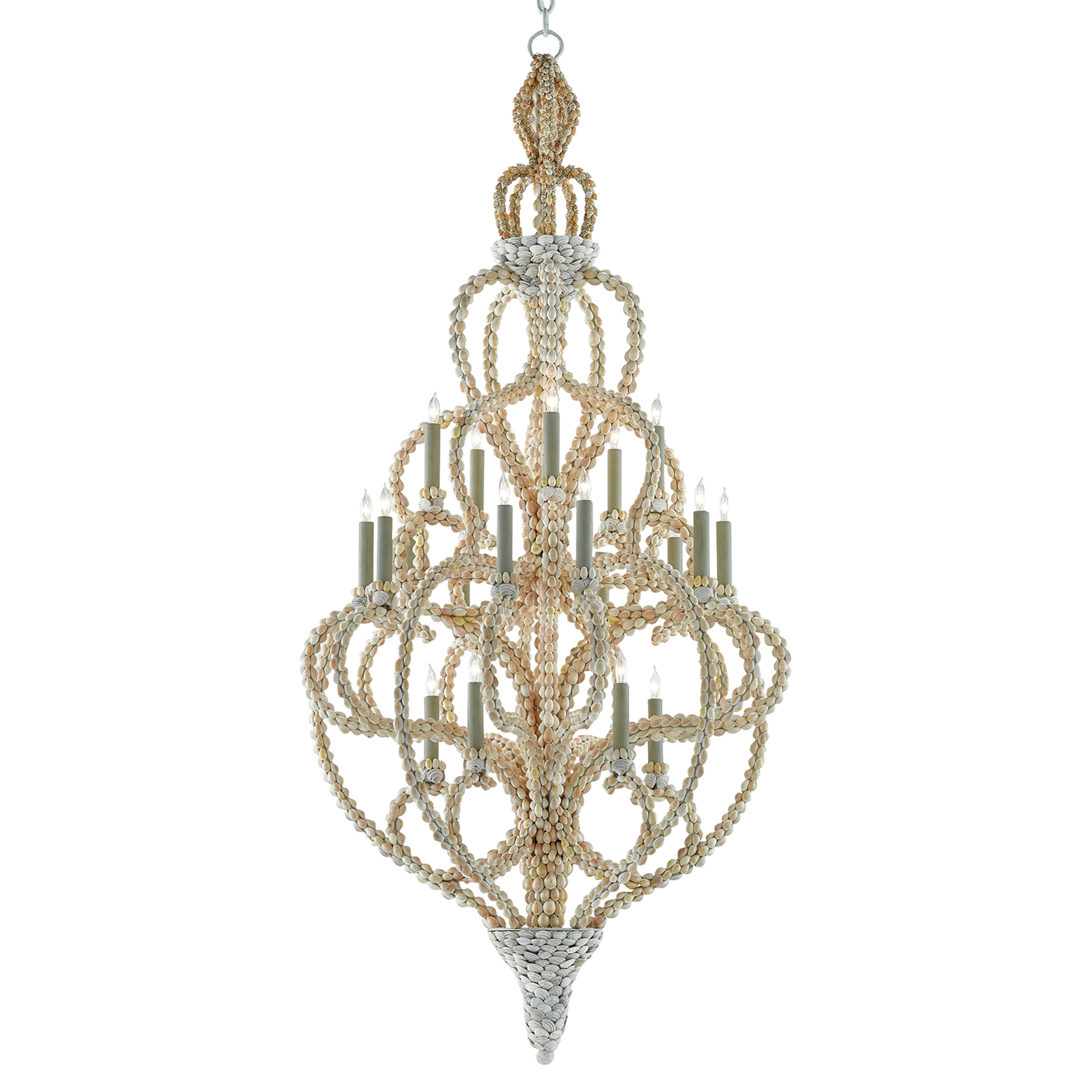 Lucine Coastal Beach Glamorous Natural Shell Chandelier - Large