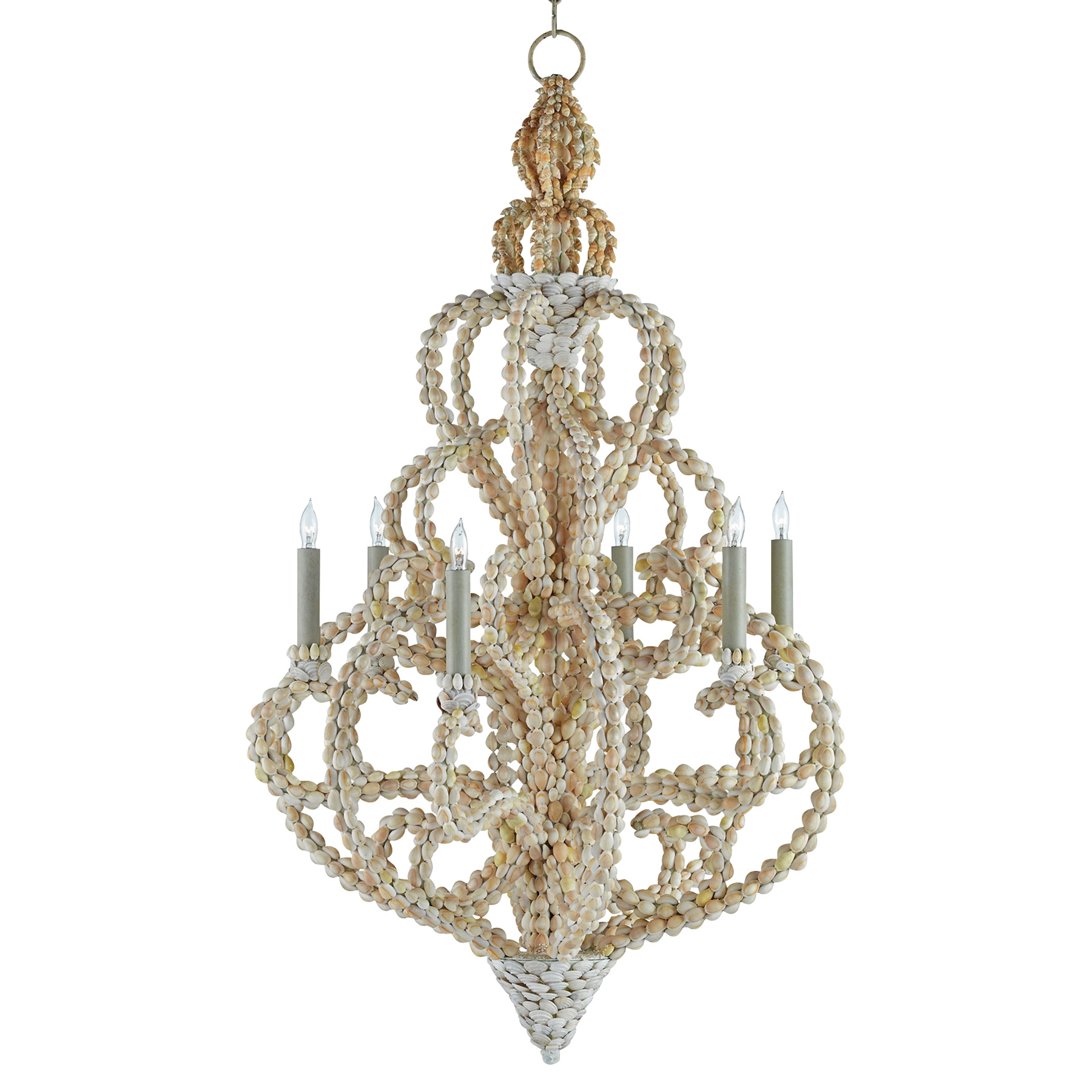 Lucine Coastal Beach Glamorous Natural Shell Chandelier - Small