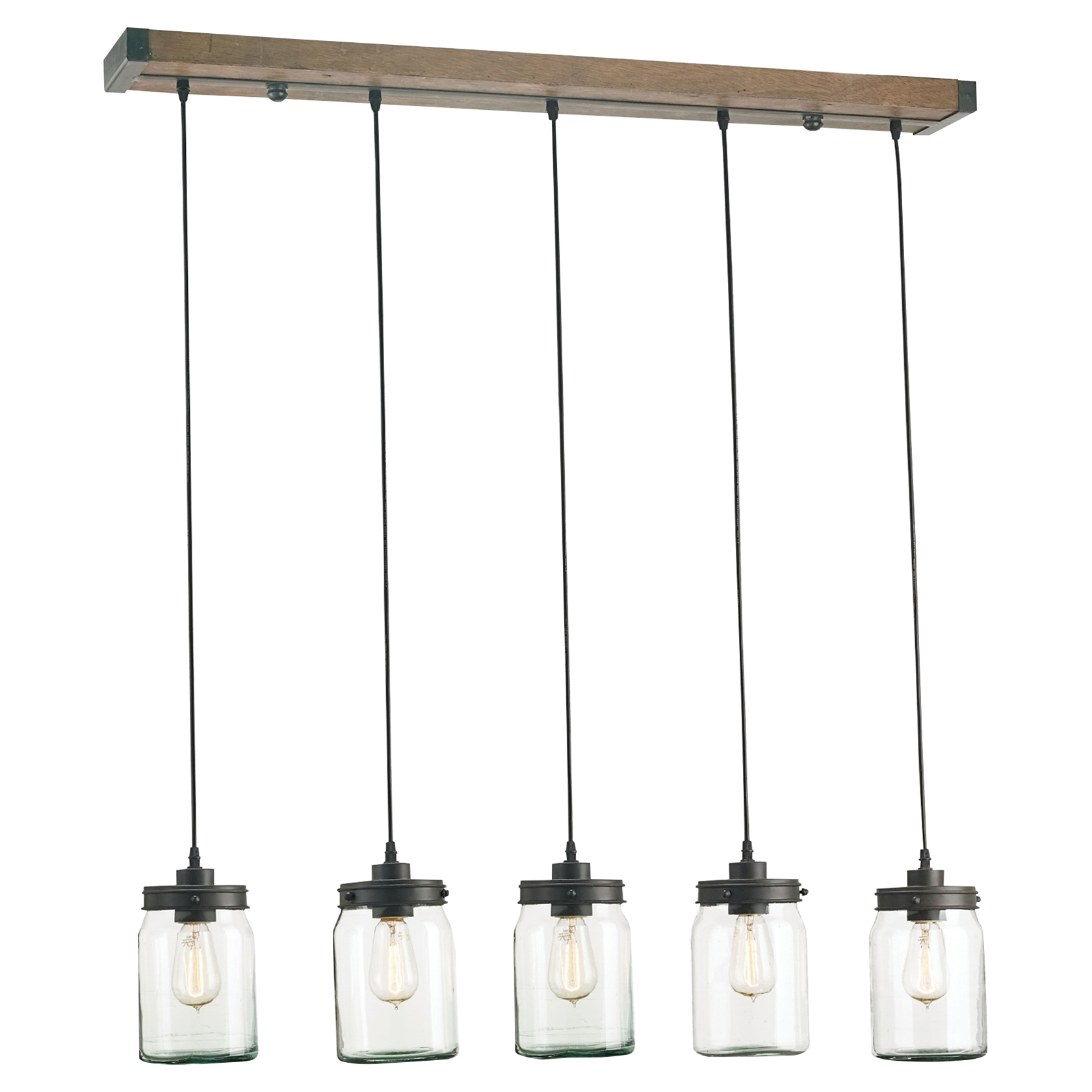 Audny Industrial Loft Rustic Glass Jars Chandelier