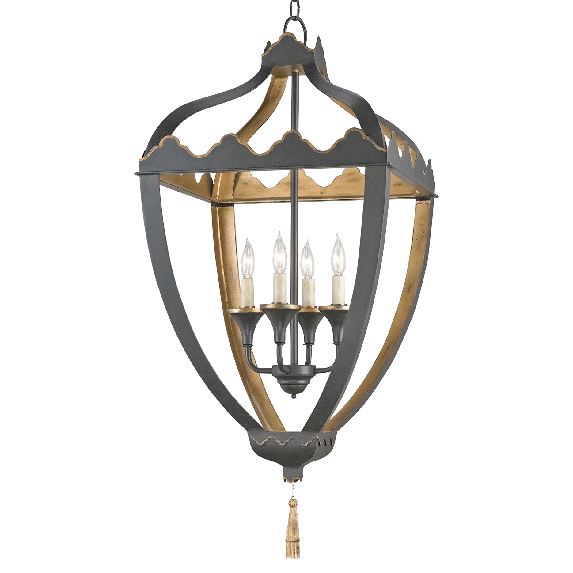 Fantine Global Bazaar Matte Black Gold Scroll Lantern
