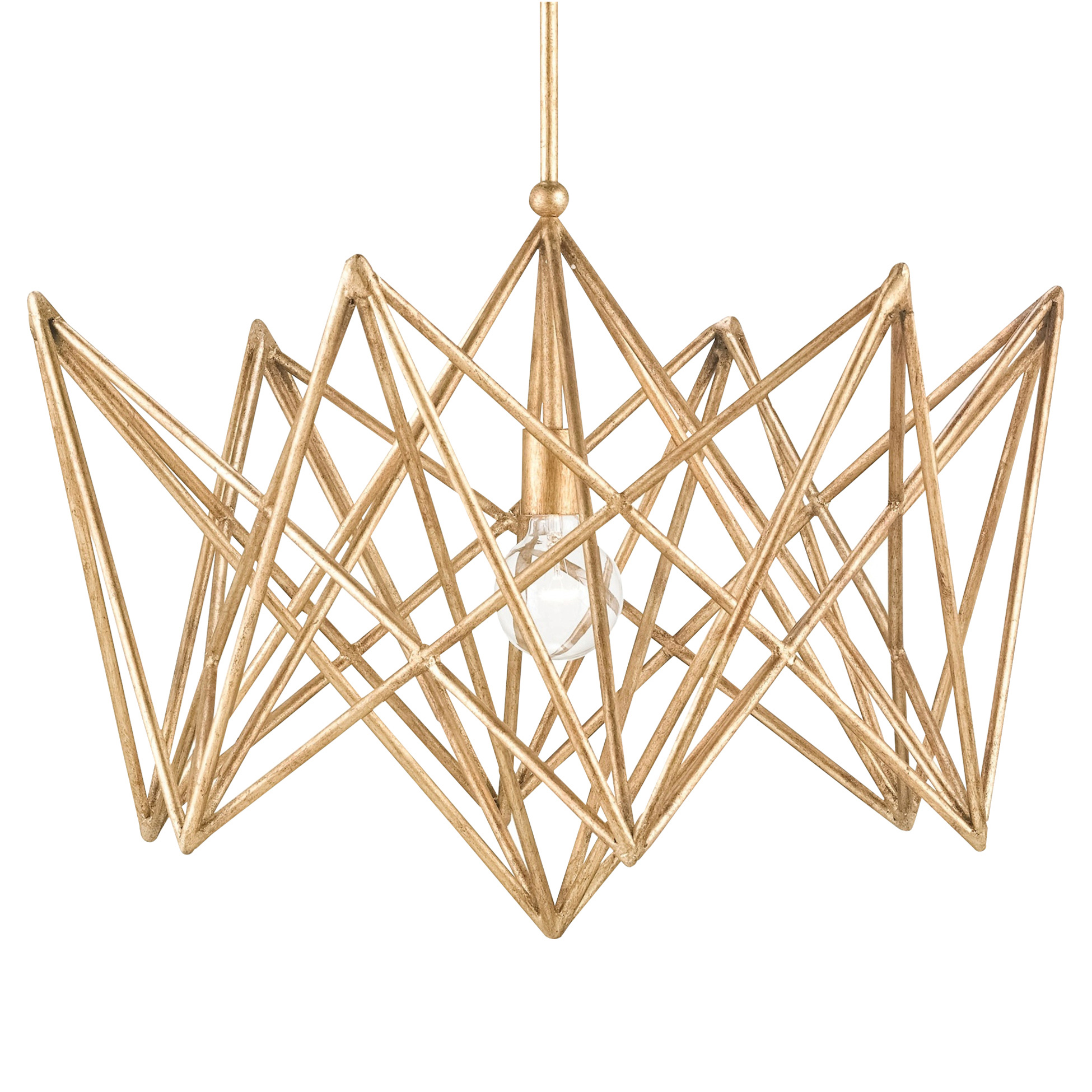 Marmara Modern Classic Bright Gold Leaf Vector Chandelier