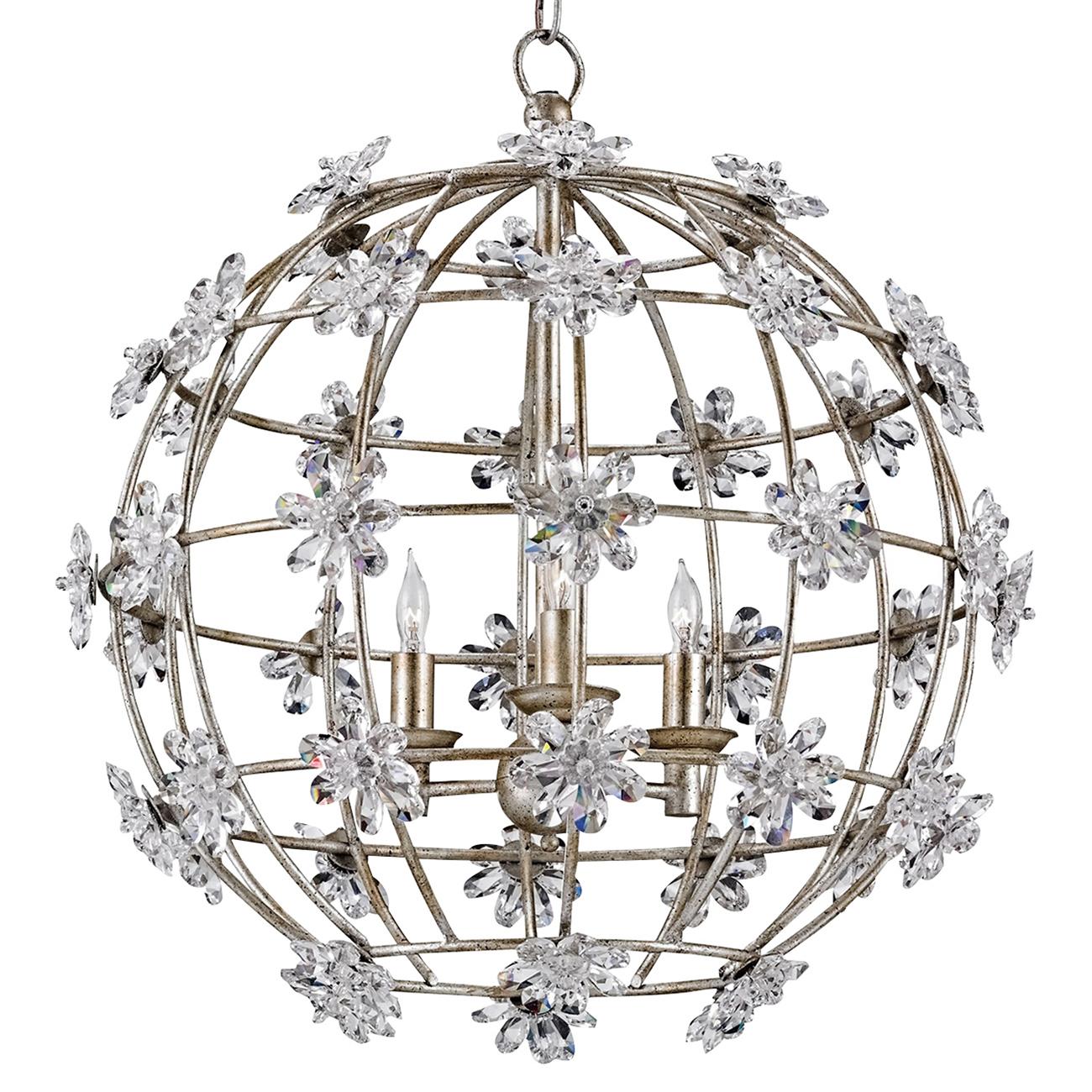 Mirielle Modern Classic Silver Flower Crystal Globe Chandelier