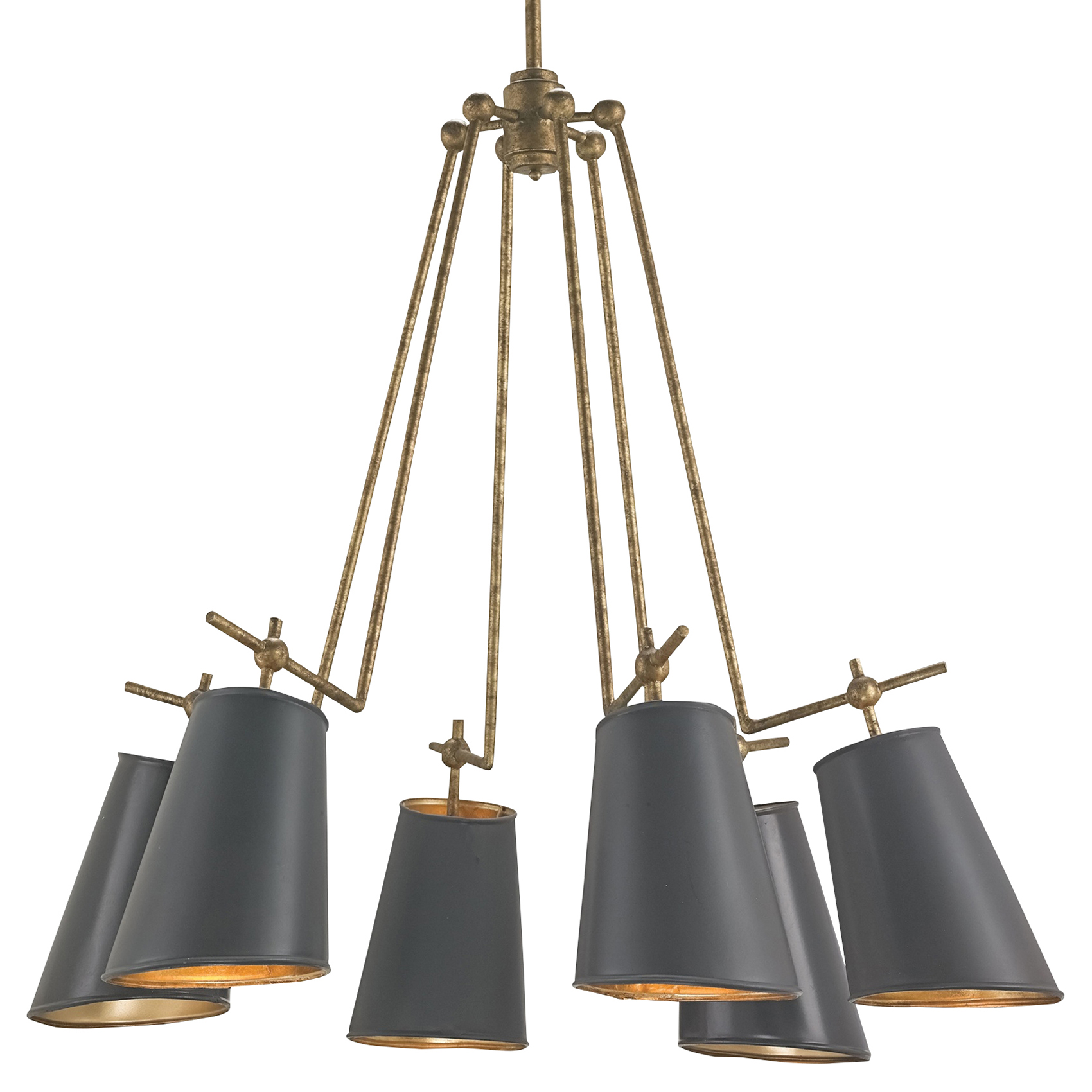 Cori Modern Antique Gold Arm Black Shade Chandelier - 30D