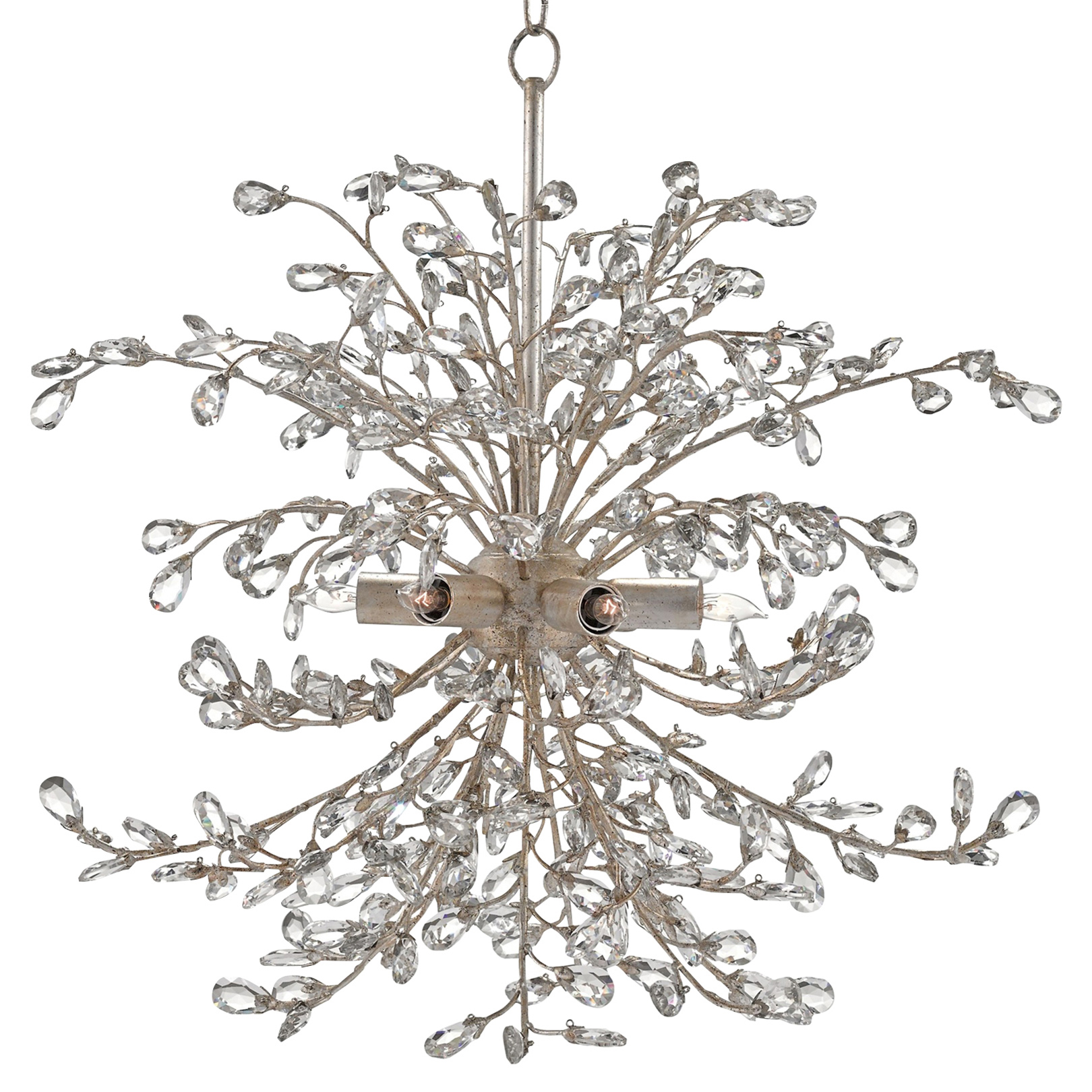Lexine Regency Crystal Wreath Silver Bud Chandelier