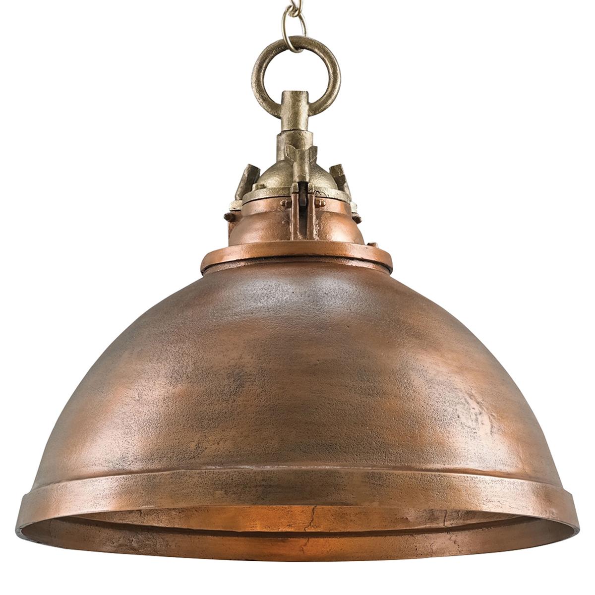 Finola Coastal Beach Rustic Copper Dome Pendant