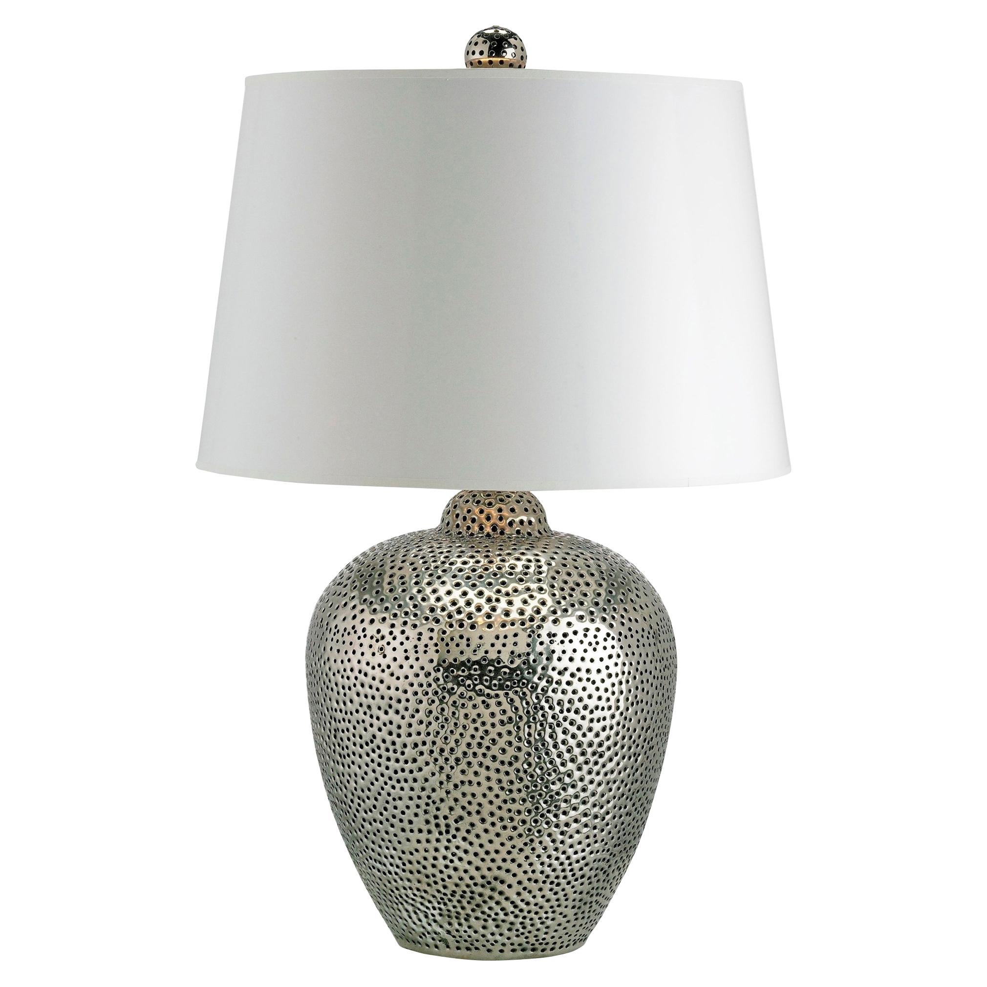 Cavan Global Bazaar Hammered Silver Table Lamp