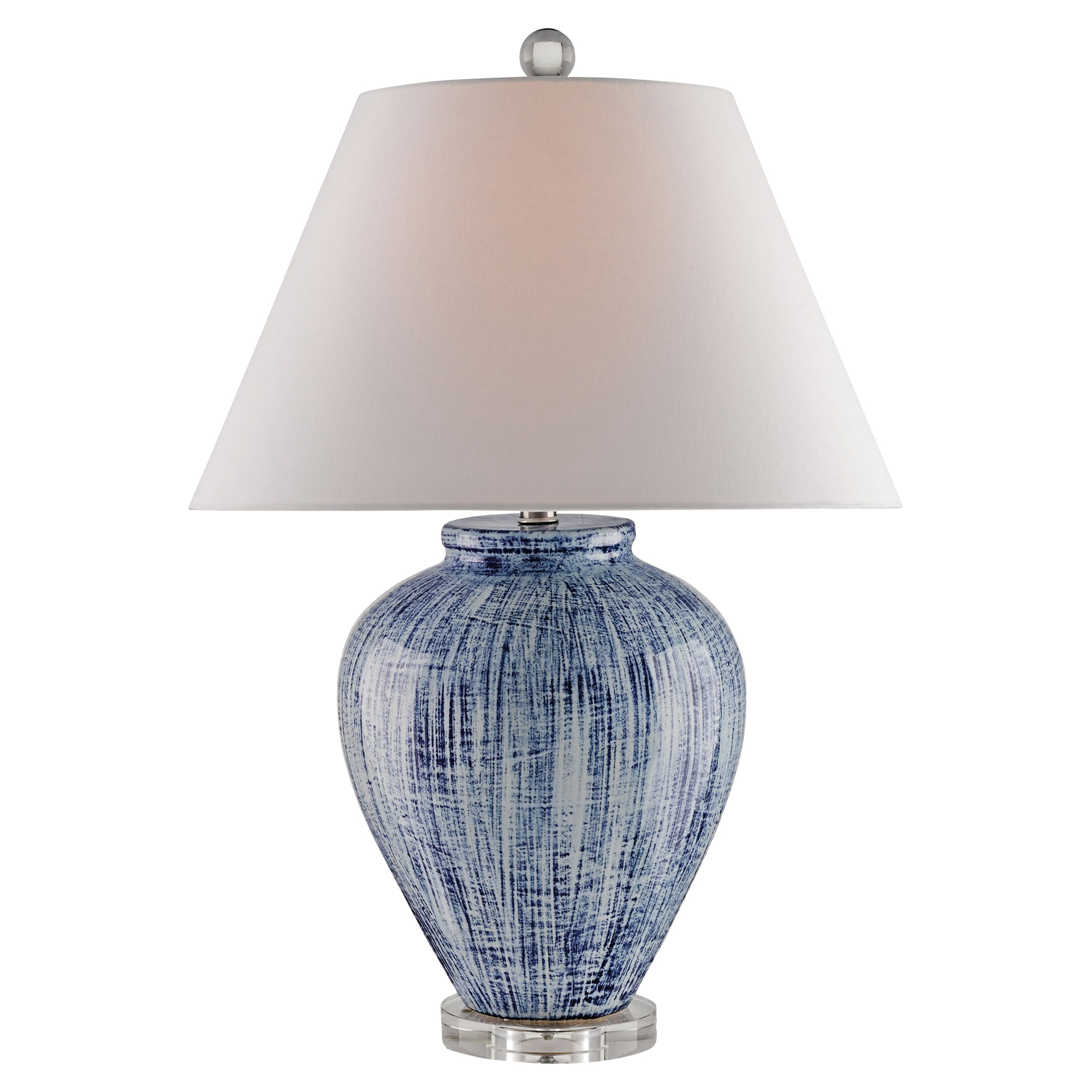 Leala Coastal Boho Hand Glazed Blue Ceramic Table Lamp