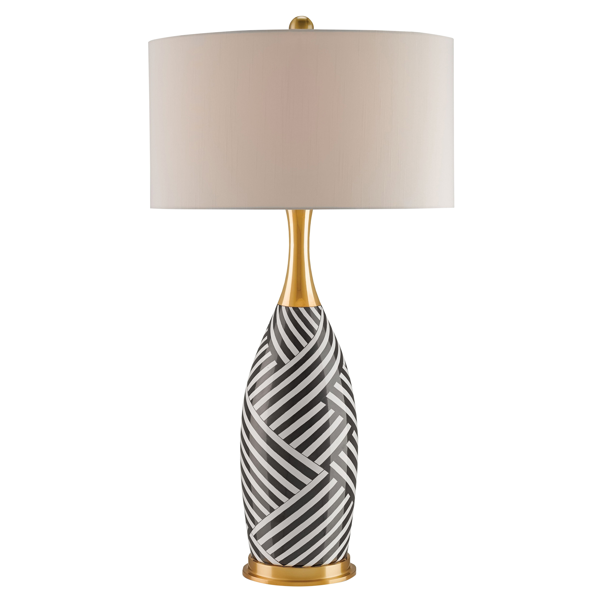 Laveda Modern Black White Weave Gold Table Lamp