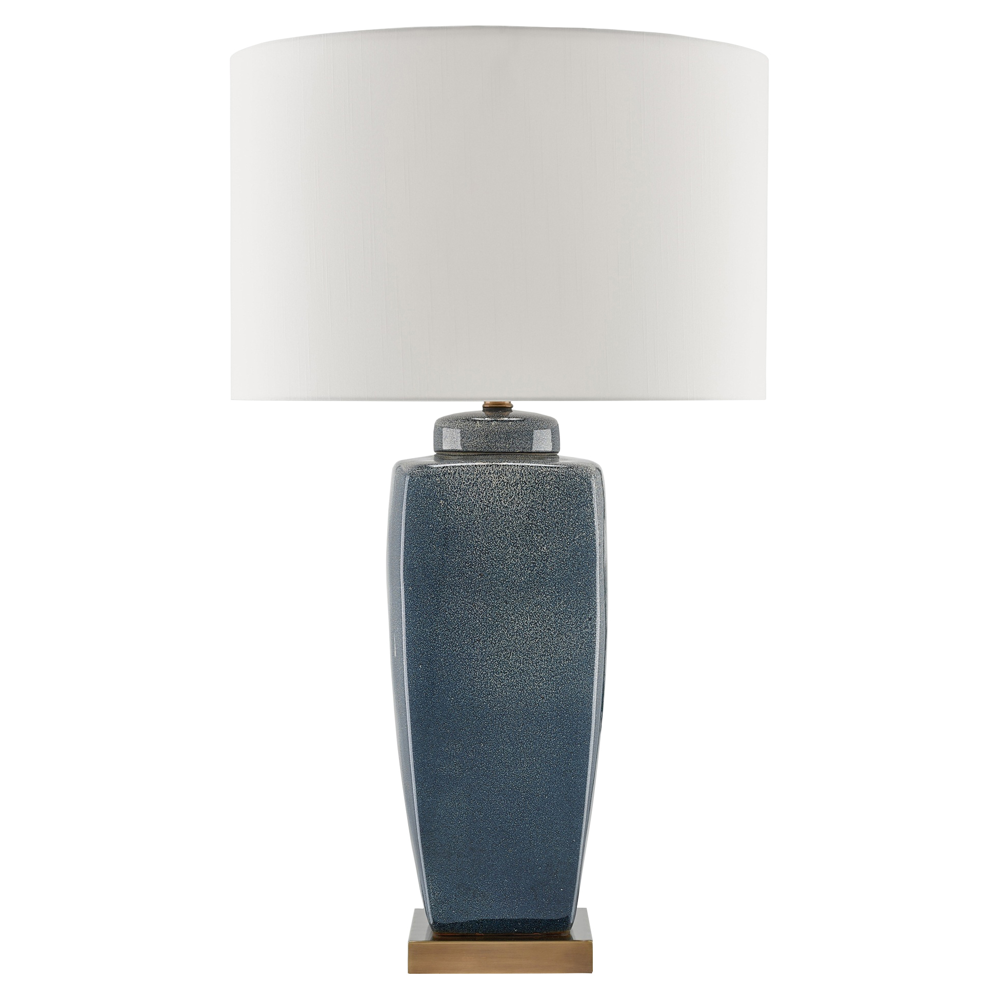 Briony Coastal Beach Speckled Blue Ceramic Tea Jar Table Lamp