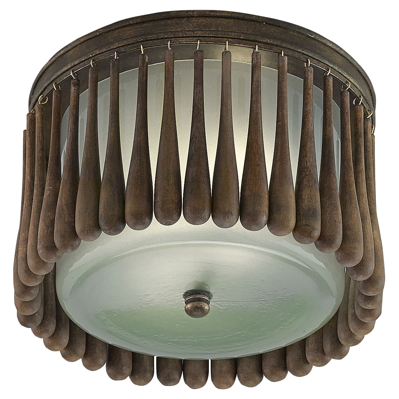 Barclay Rustic Lodge Wood Iron Round Ceiling Mount