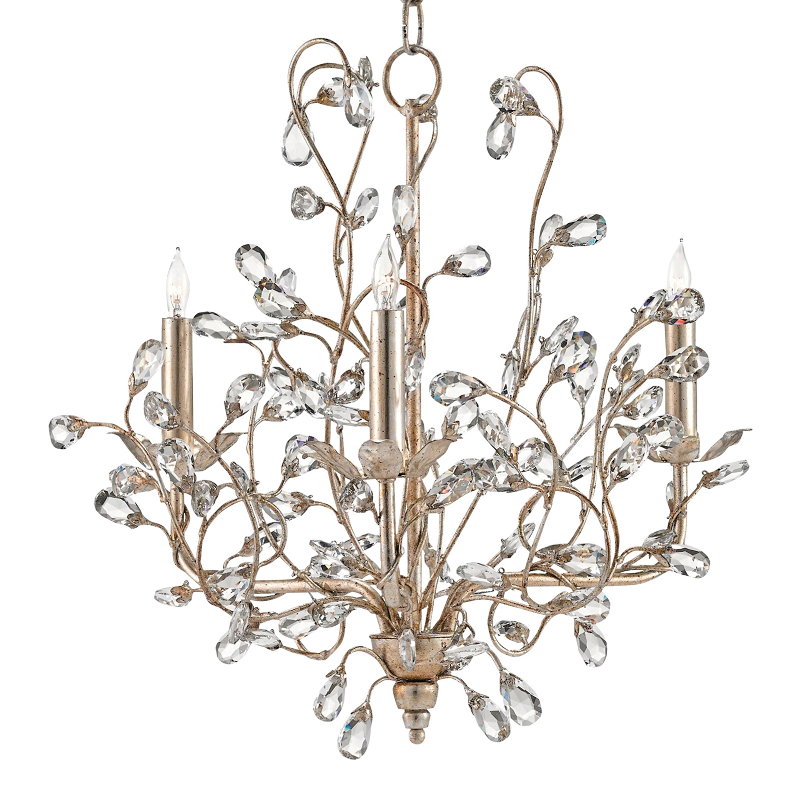 Brietta Modern Fairytale Silver Crystal Bud 3 Light Chandelier