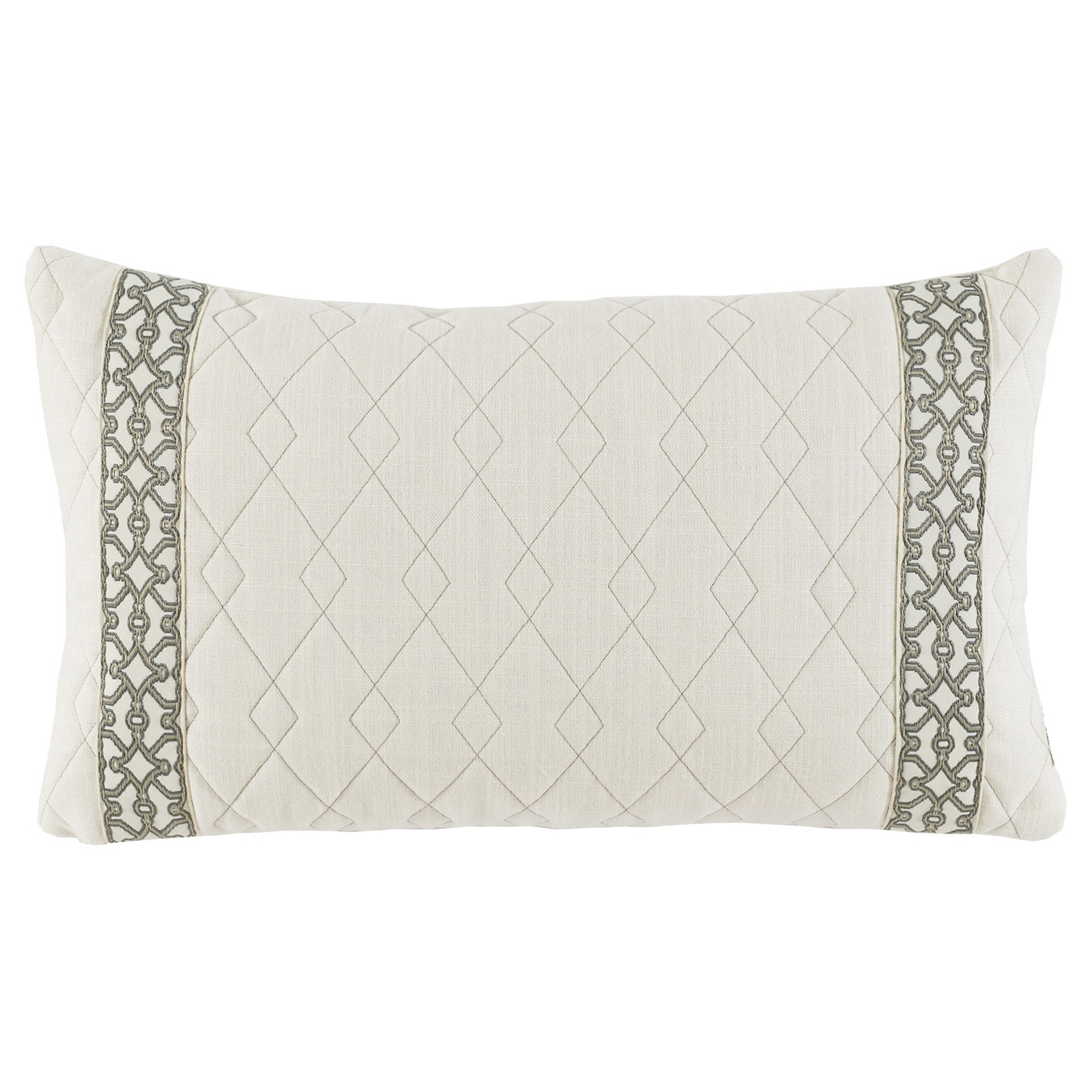 Dori Modern Classic Diamond Quilt Ivory Trim Pillow - 13x22