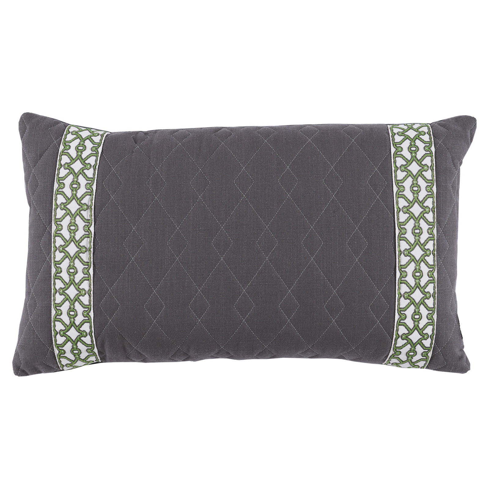 Dori Modern Classic Diamond Quilt Charcoal Trim Pillow - 13x22