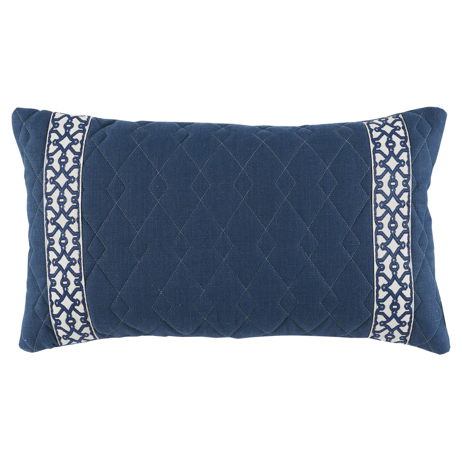 Dori Modern Classic Diamond Quilt Navy Trim Pillow - 13x22