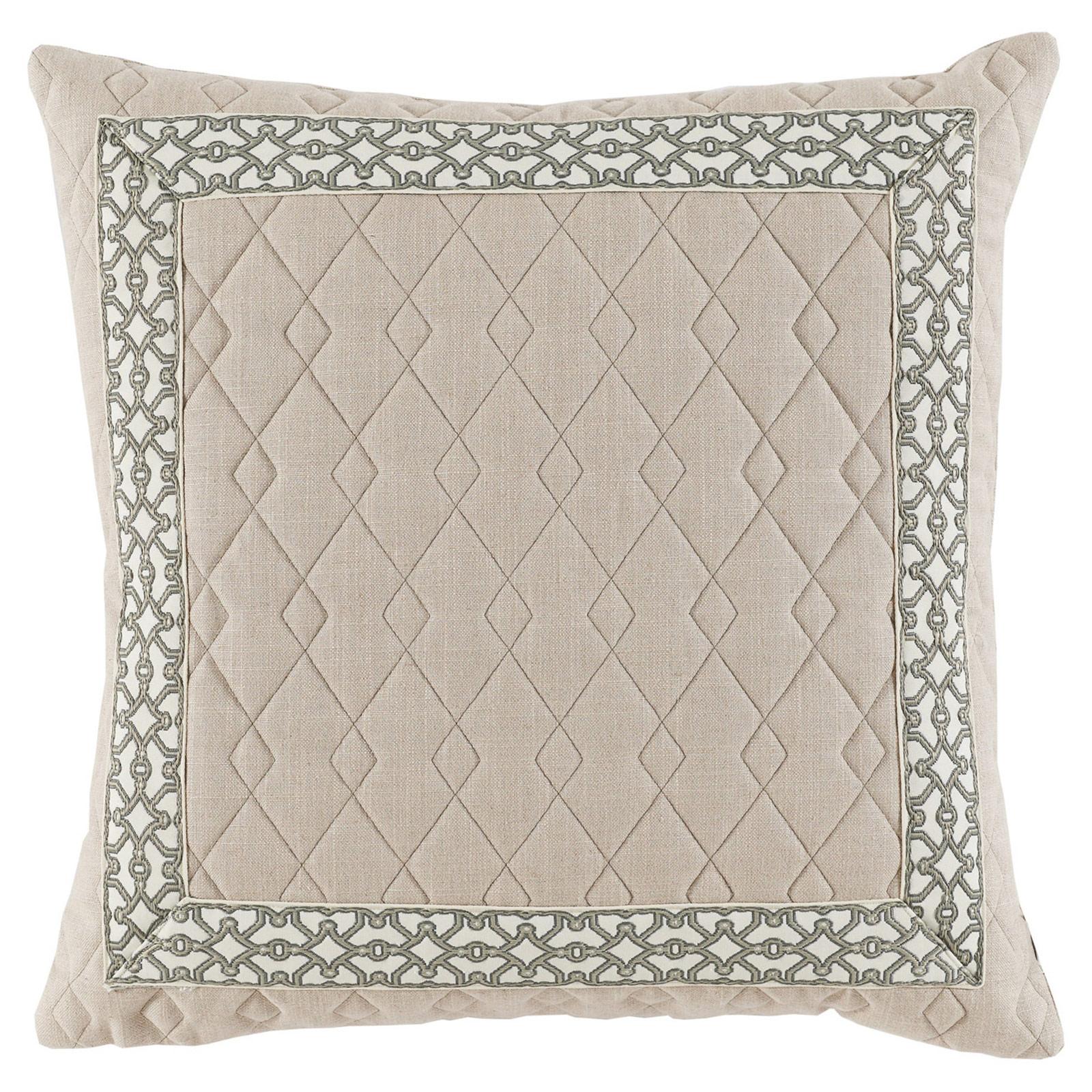 Dori Modern Classic Diamond Quilt Beige Trim Pillow - 22x22
