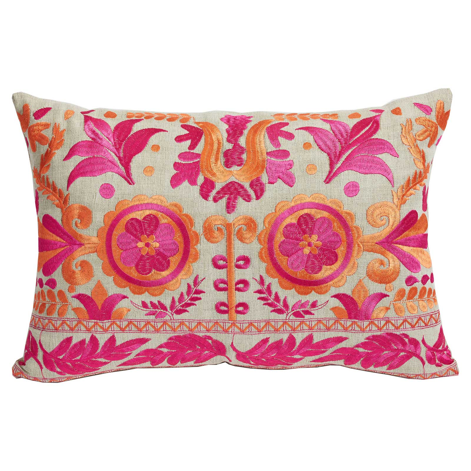 Costa Global Bazaar Pink Floral Embroidered Pillow - 13x19